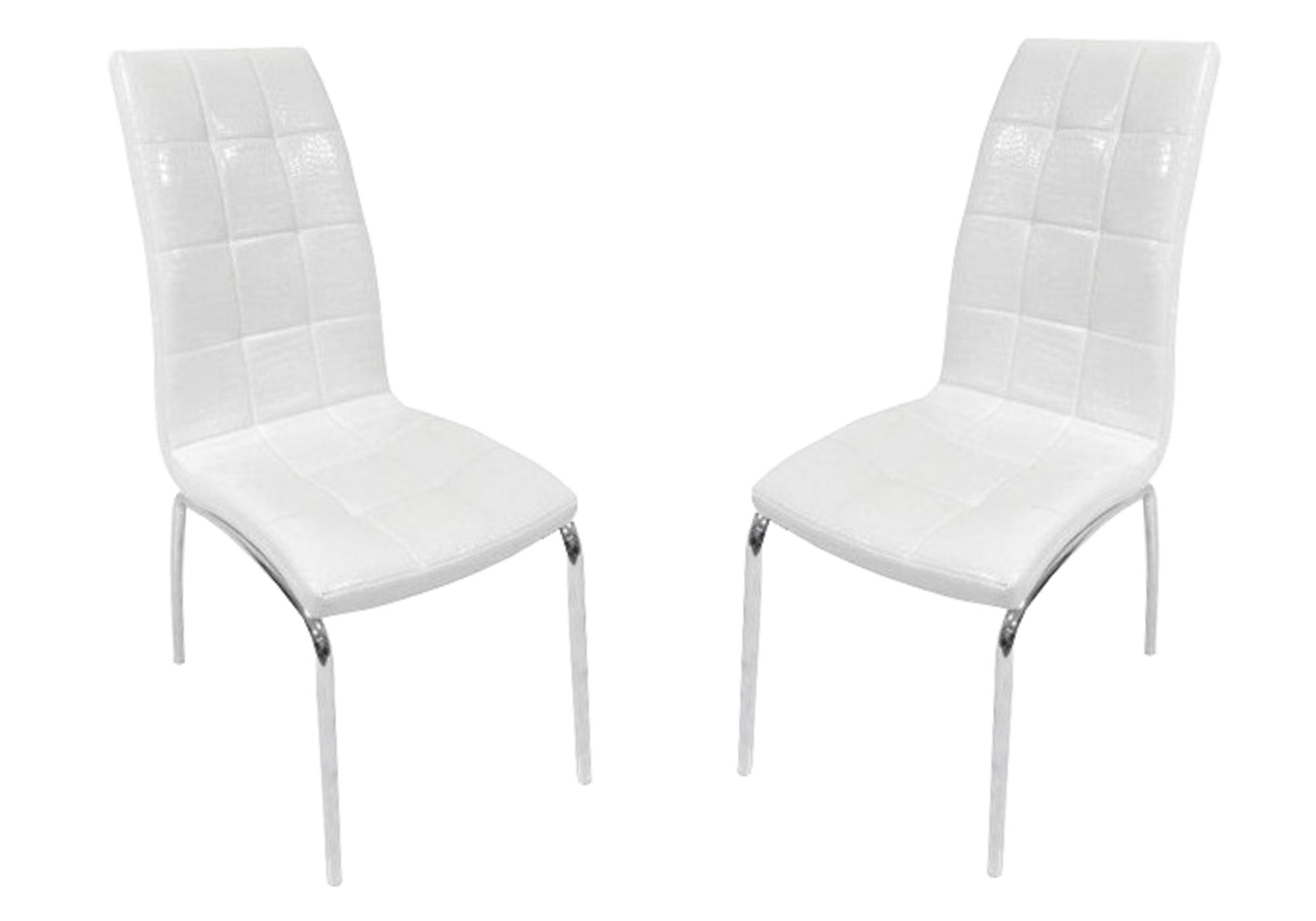 Lot 6 chaises chromé croco blanc DEA