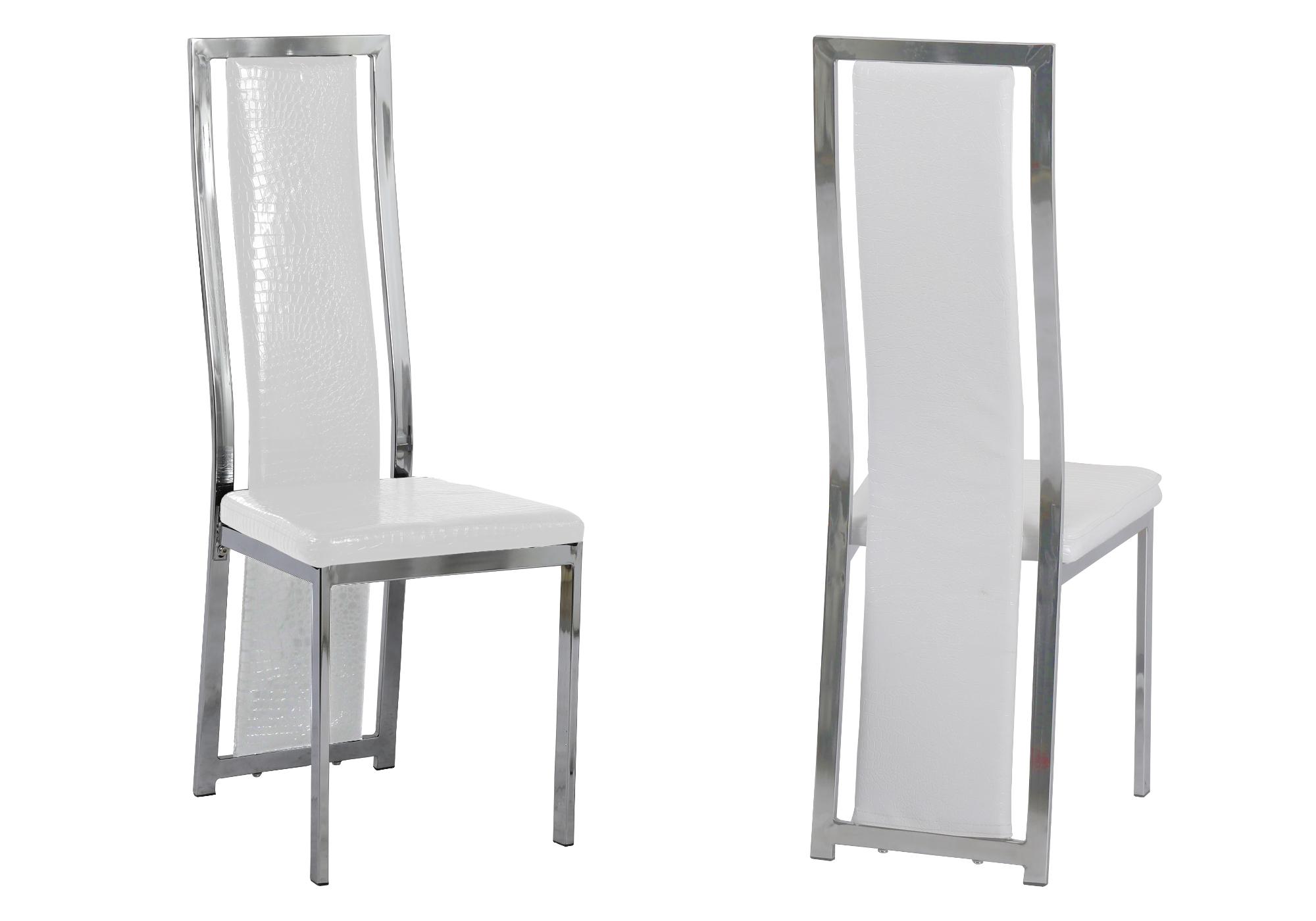 Lot 6 chaises chromé croco blanc DIA