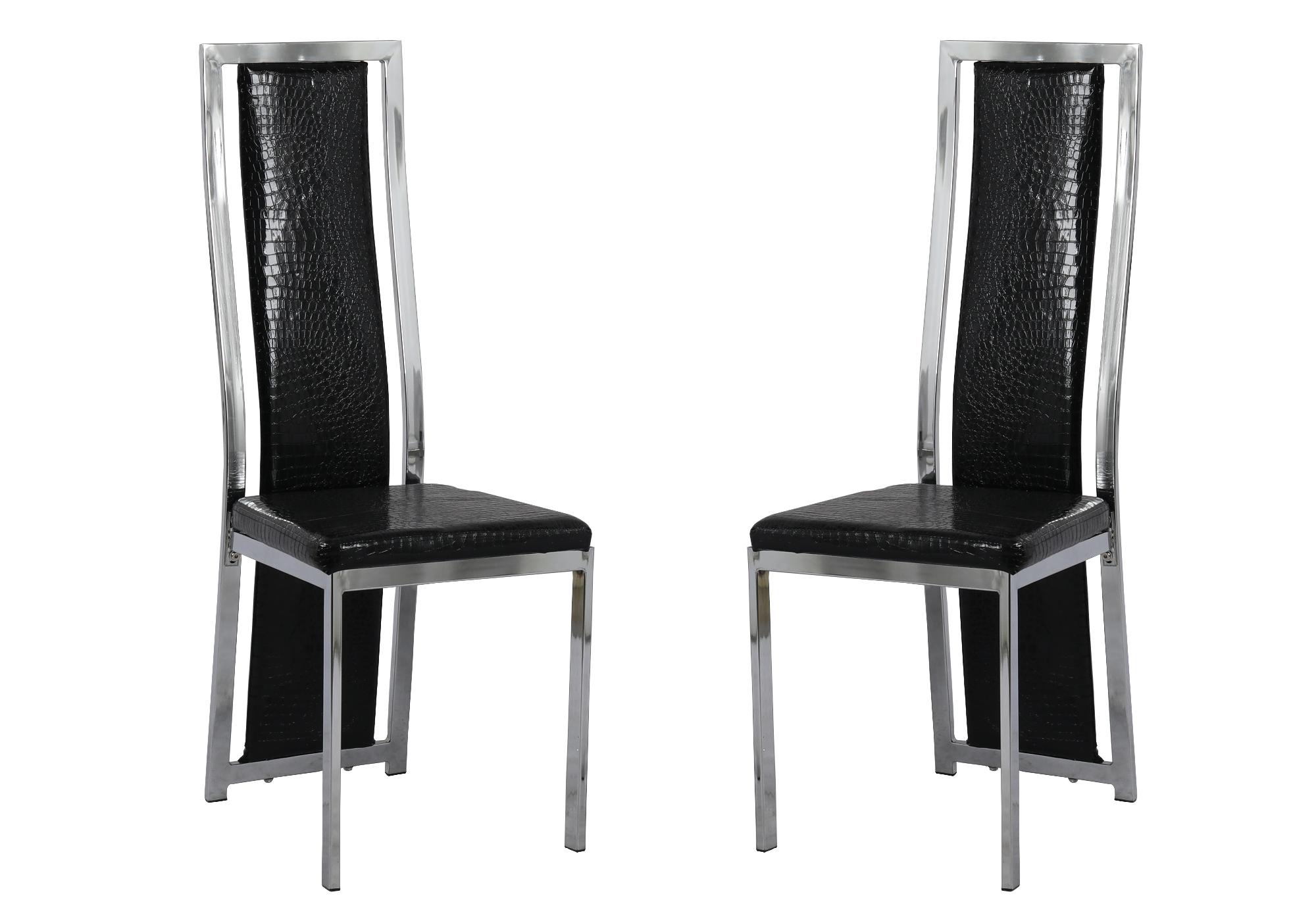 Lot 6 chaises chromé croco noir DIA