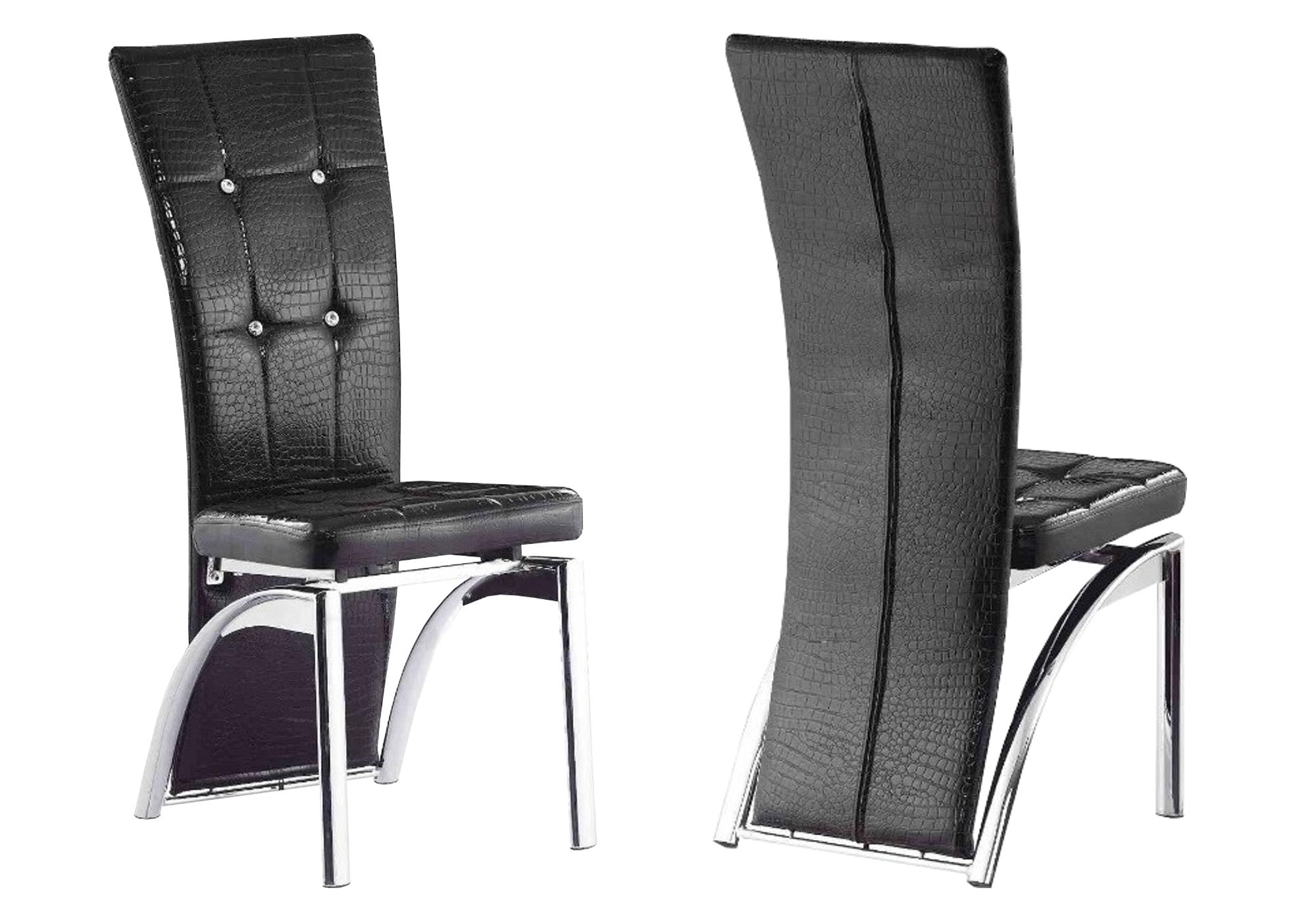 Lot 6 chaises chromé croco noir ZEA
