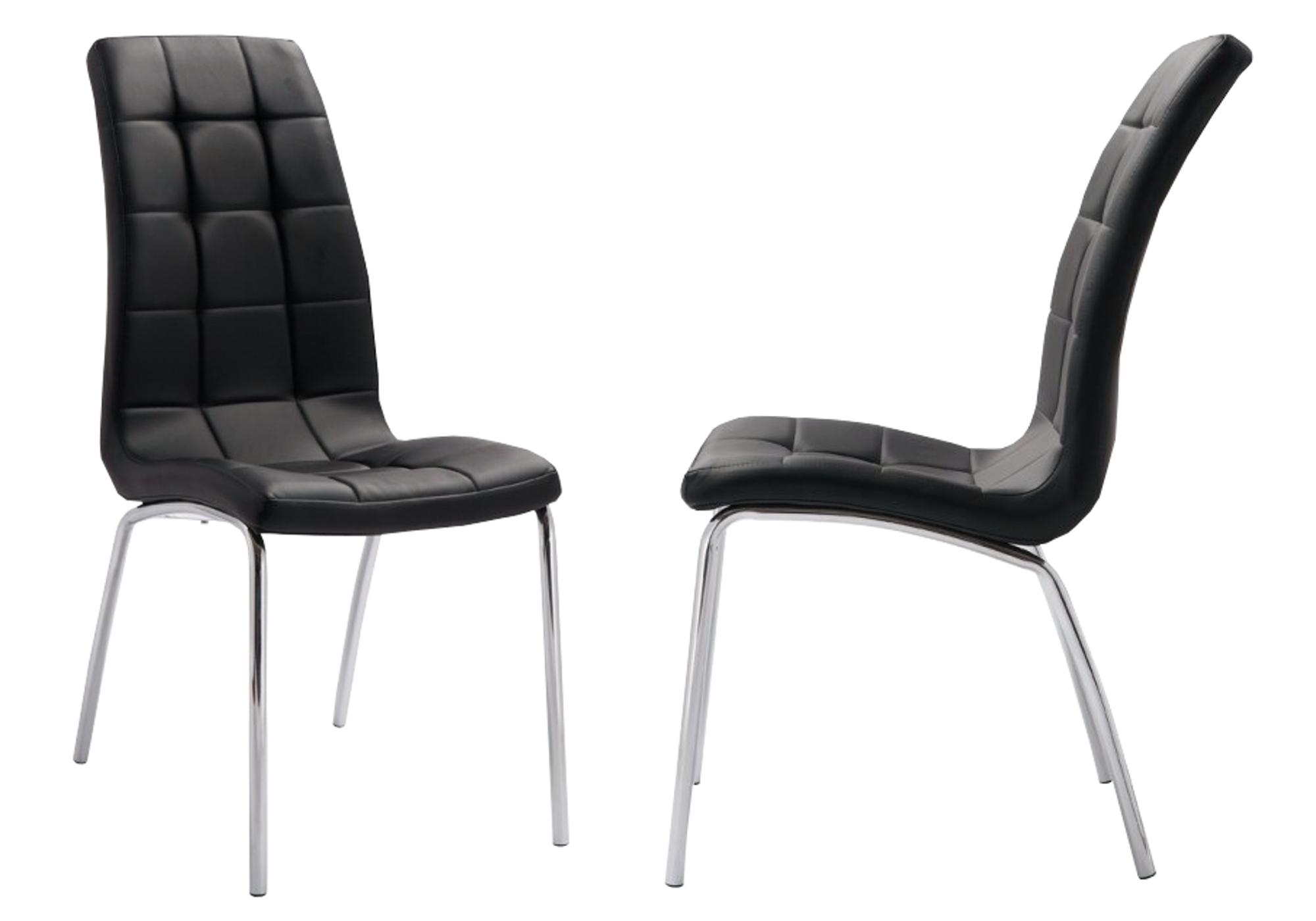 Lot 6 chaises chromé noir DEA