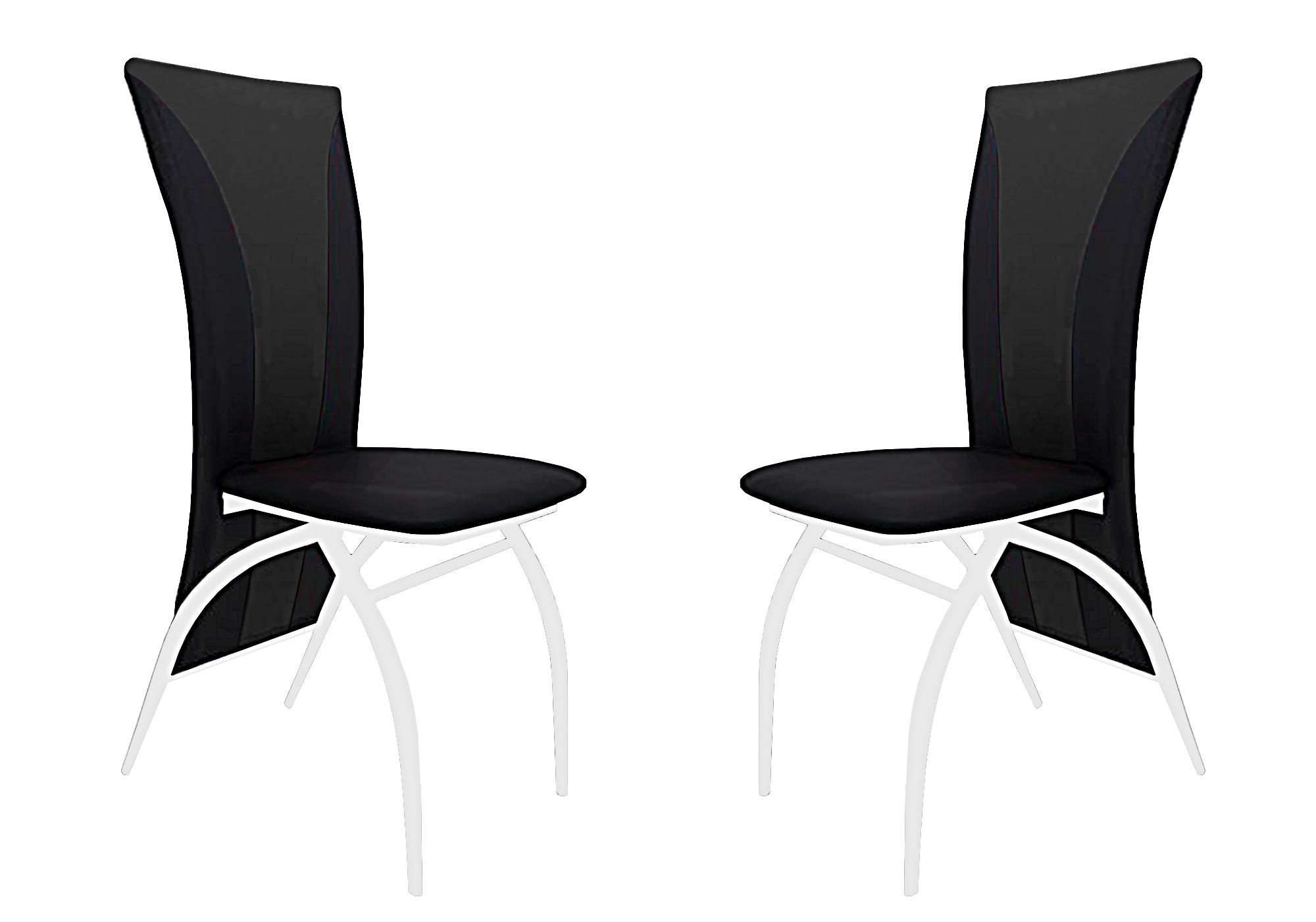 Lot 6 chaises chromé simili noir IVO