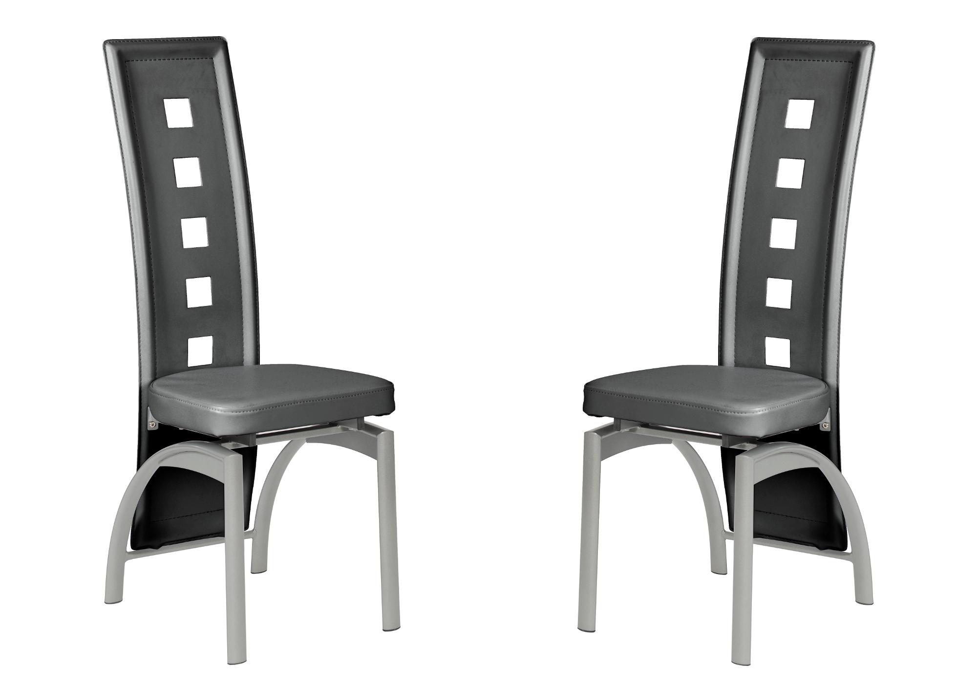 Lot 6 chaises métal simili gris LINE