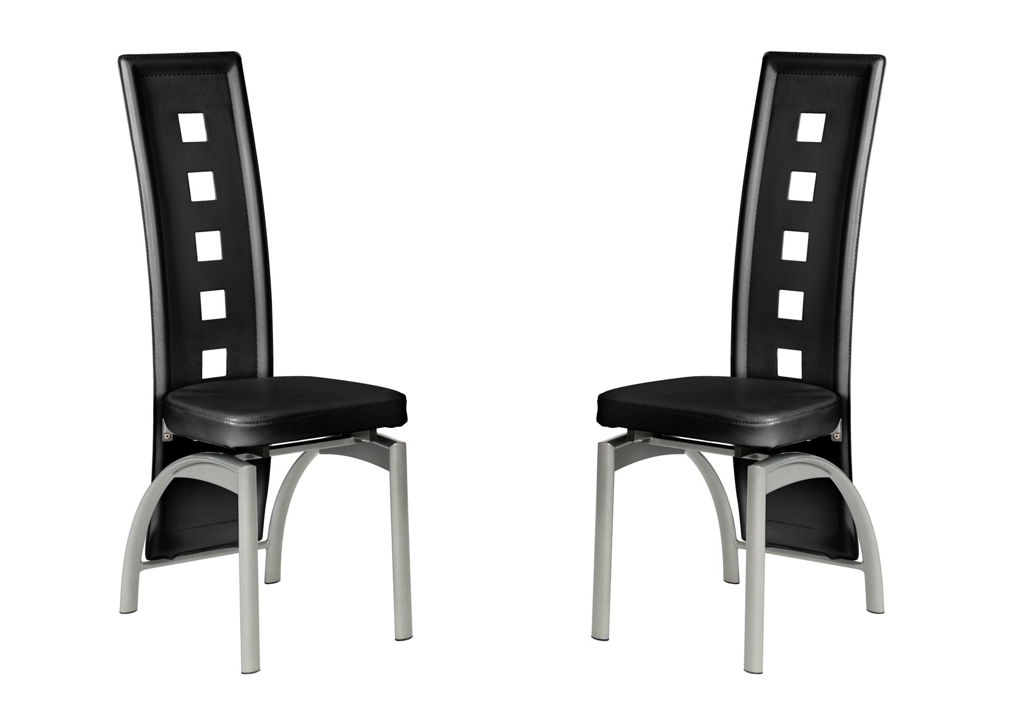 Lot 6 chaises métal simili noir LINE