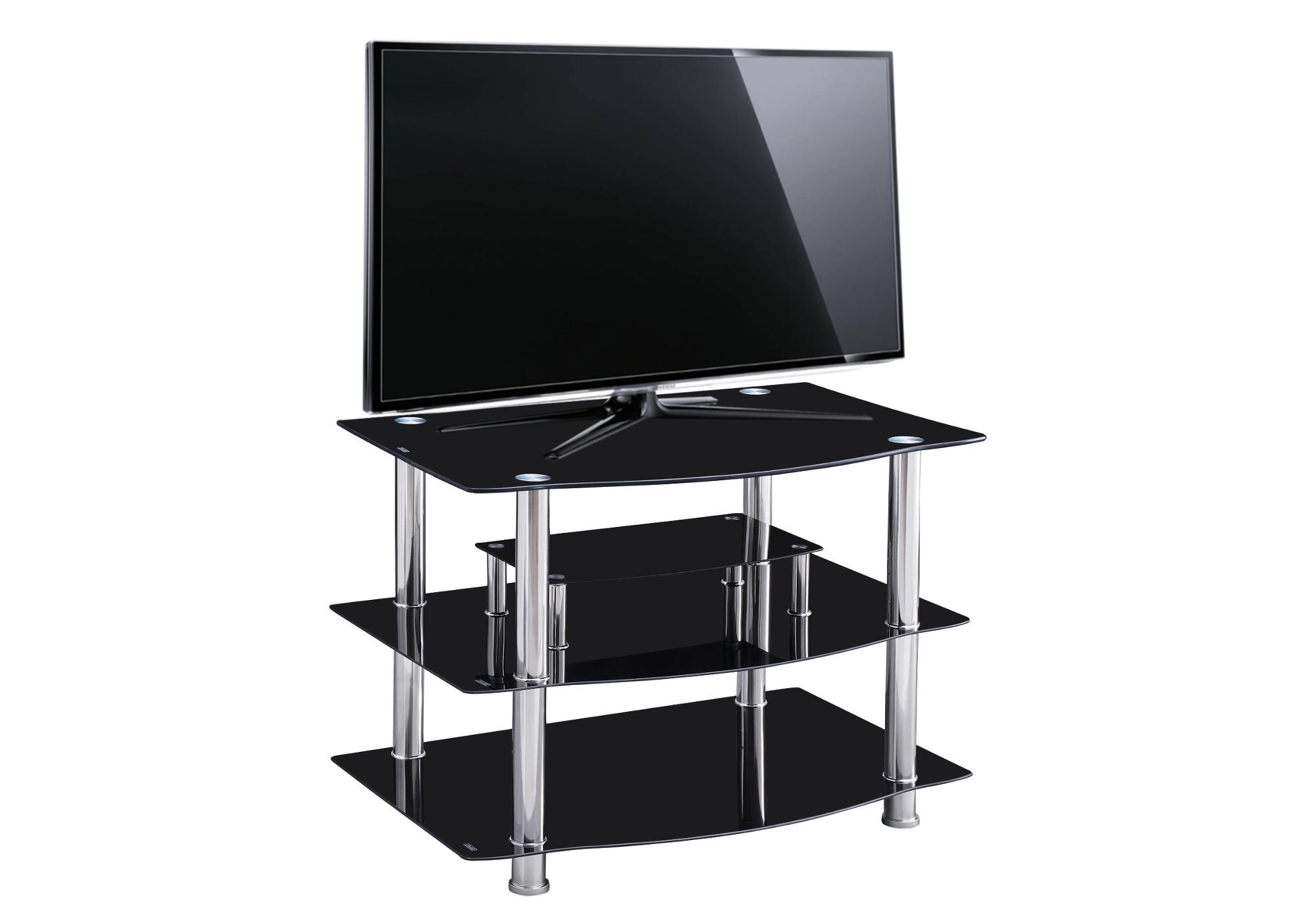 Meuble TV chromé verre noir KEO.1
