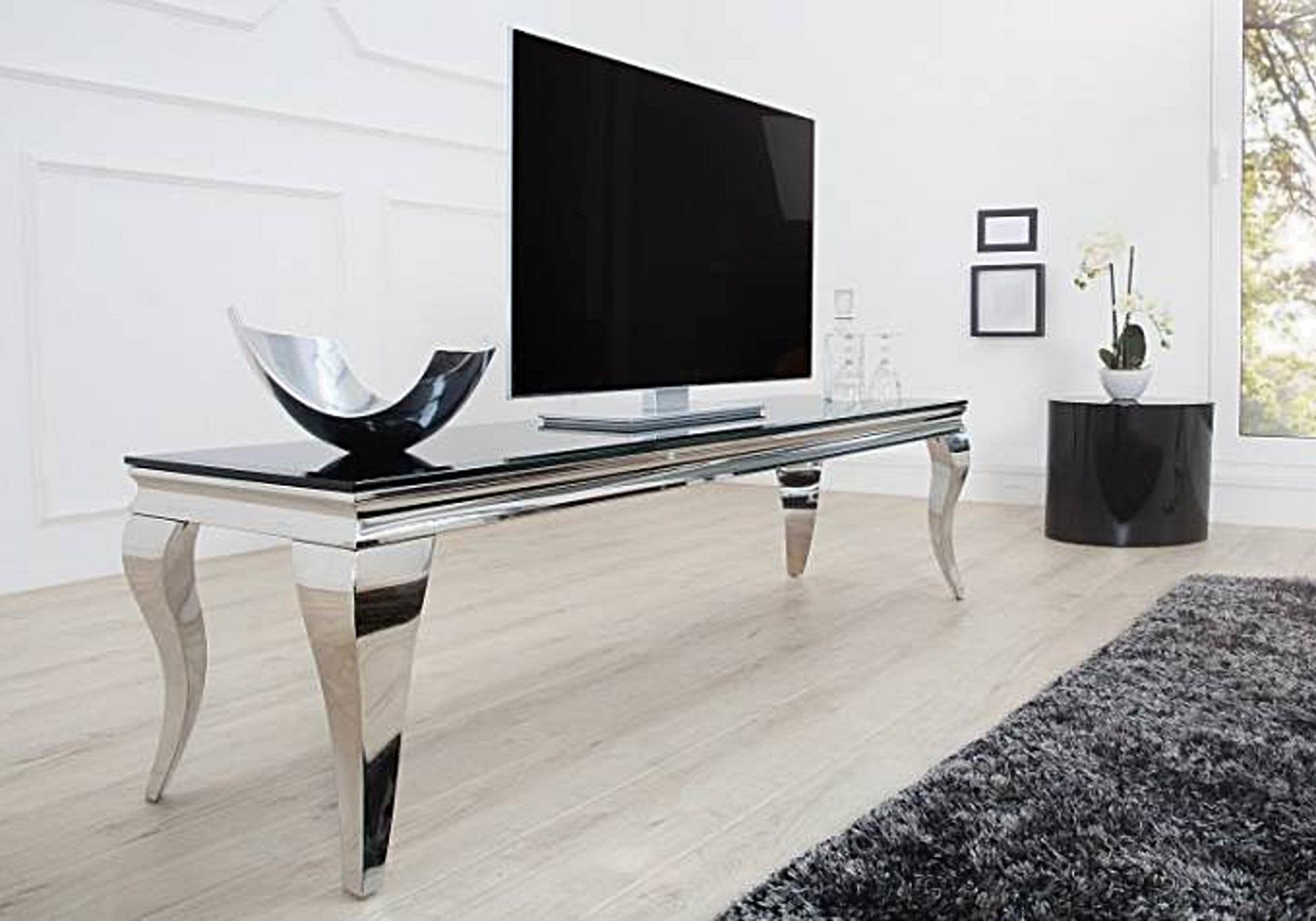 Meuble tv chromé verre noir NEO