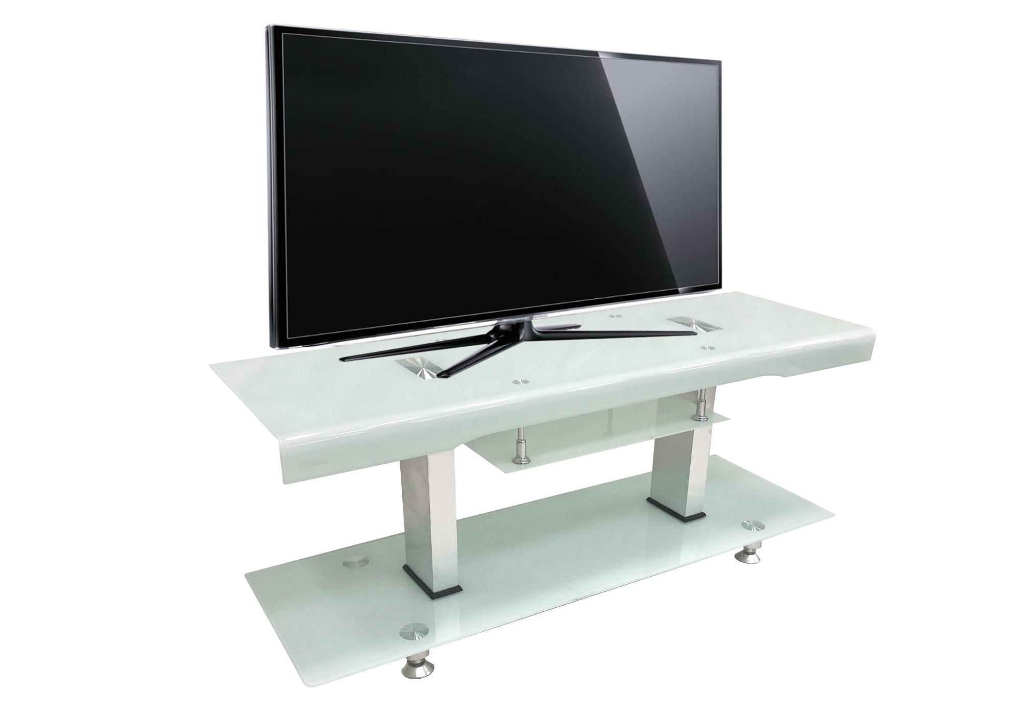 Meuble TV verre trempé blanc OBY