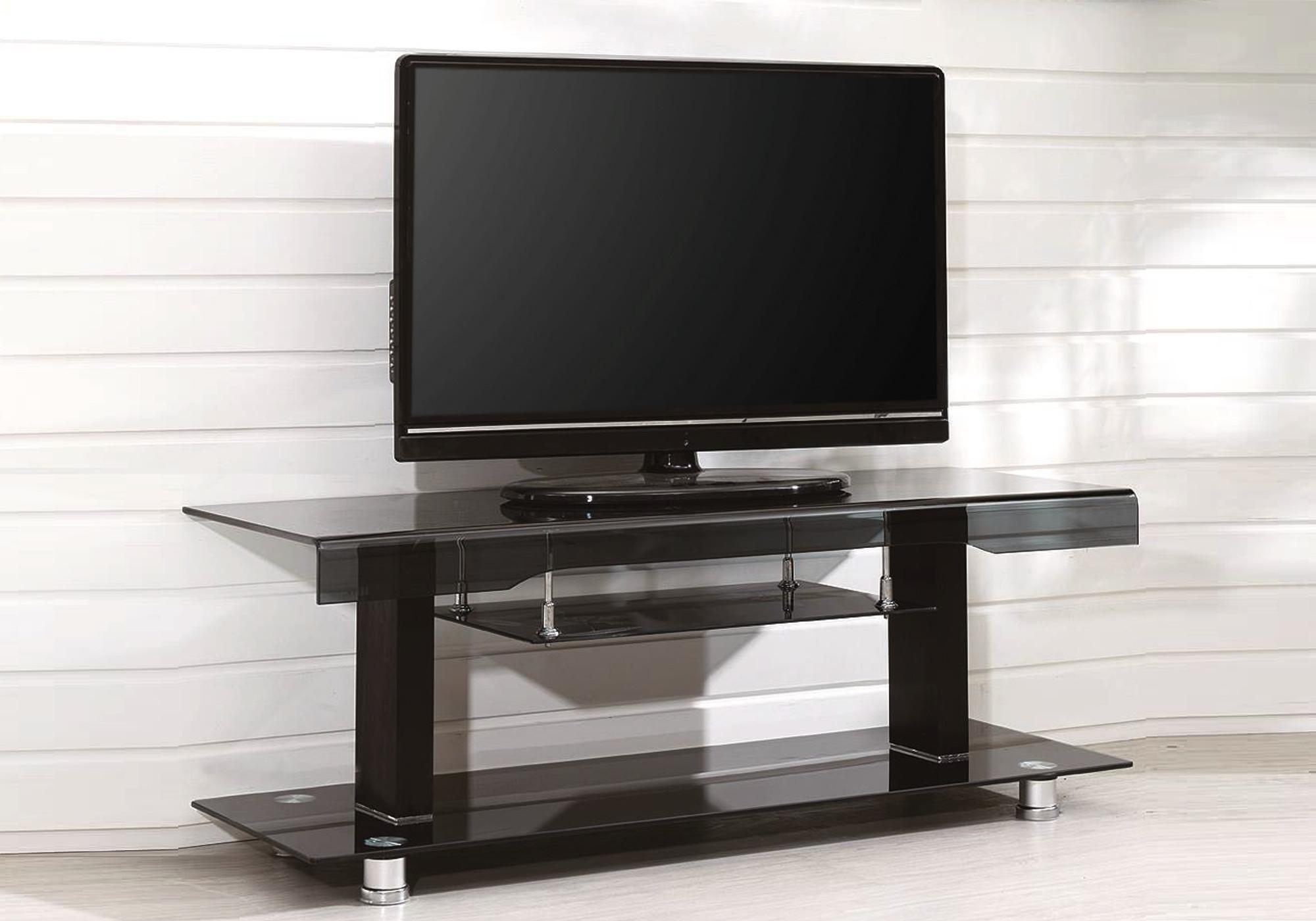 Meuble TV verre trempé noir OBY