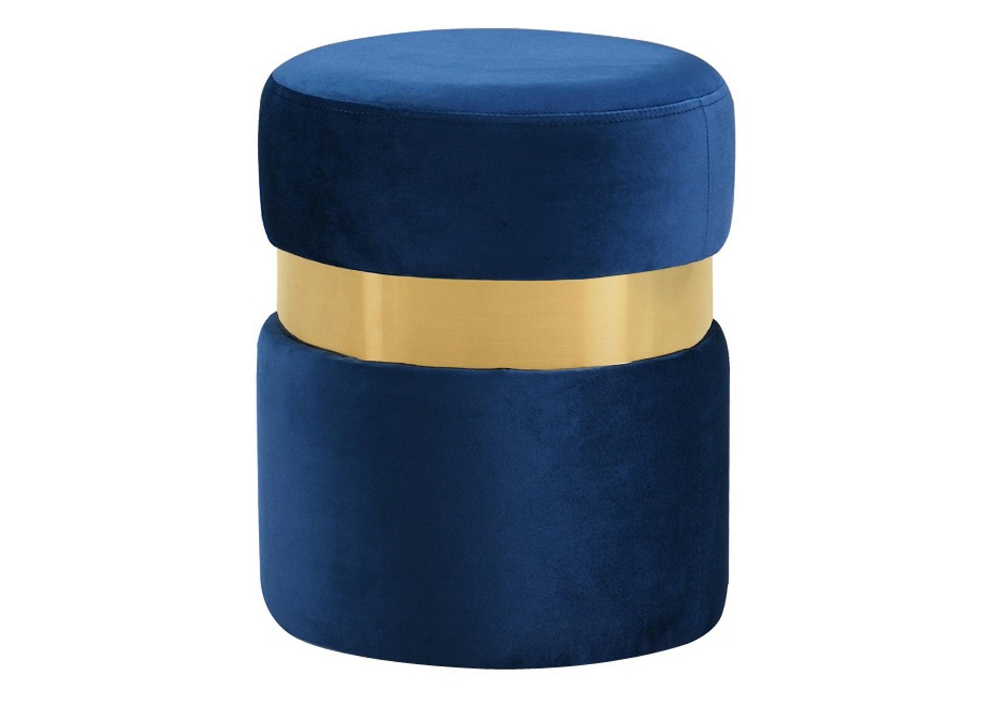 Pouf design doré velours bleu ISY