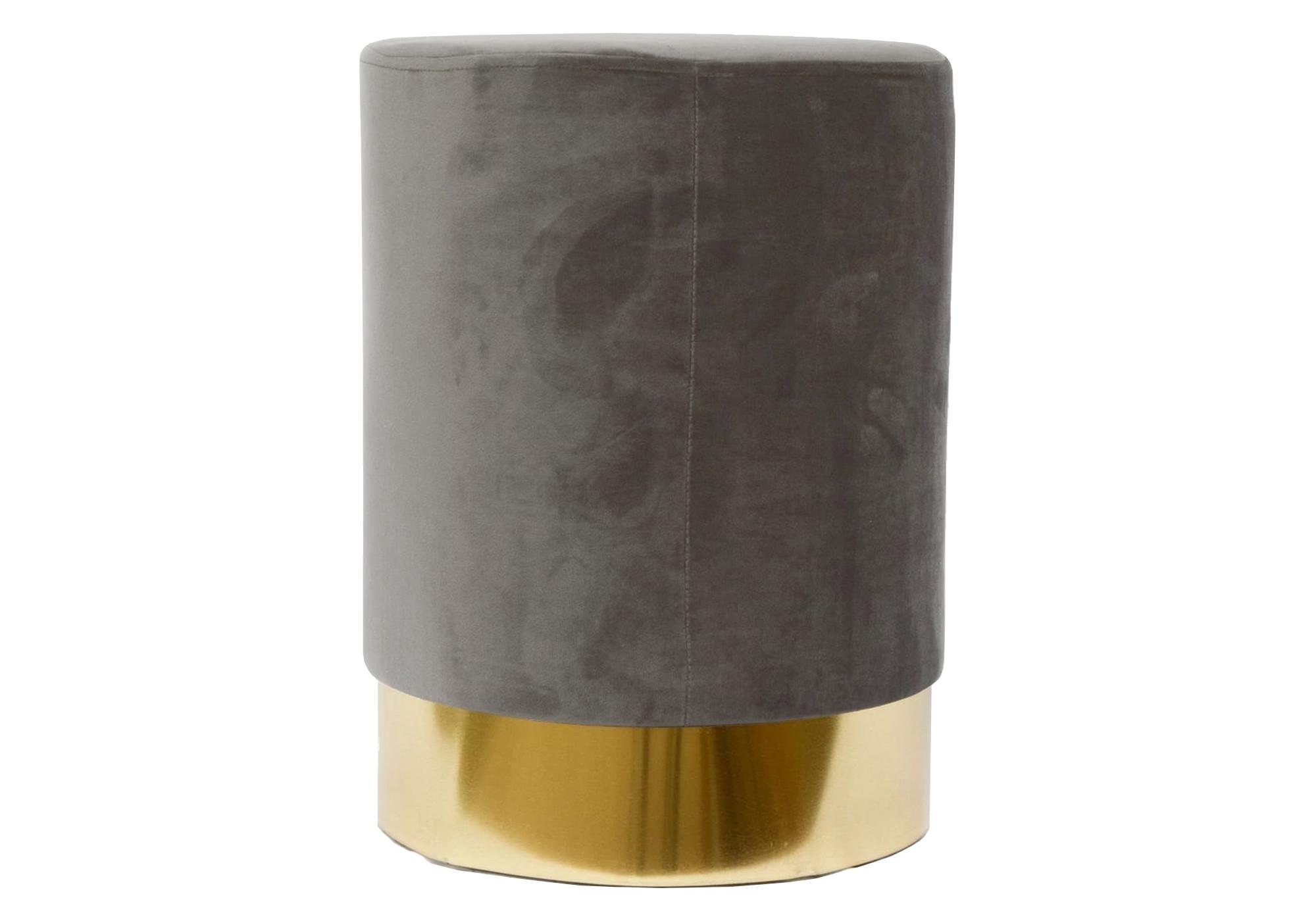 Pouf design doré velours gris LISY
