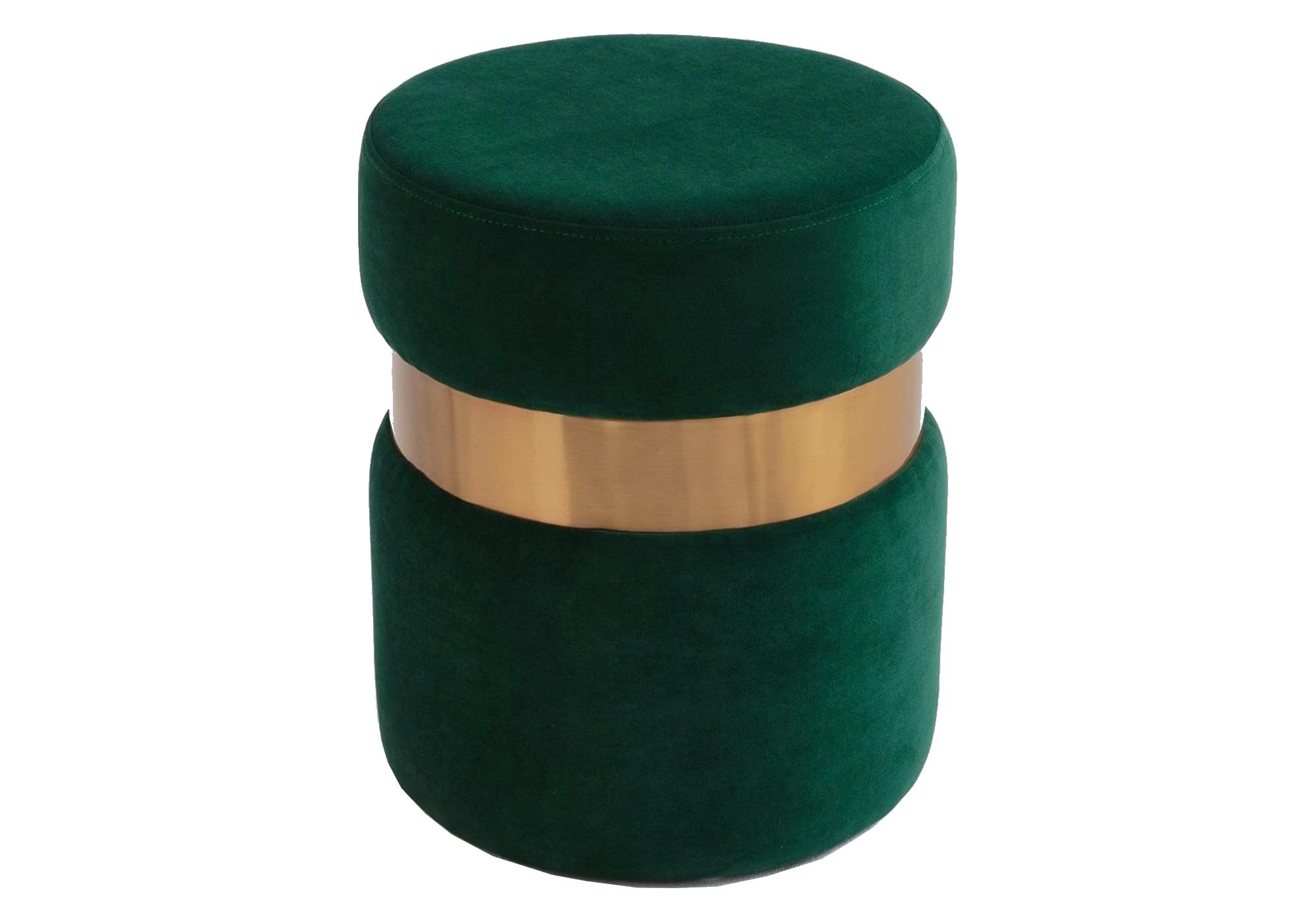 Pouf design doré velours vert ISY