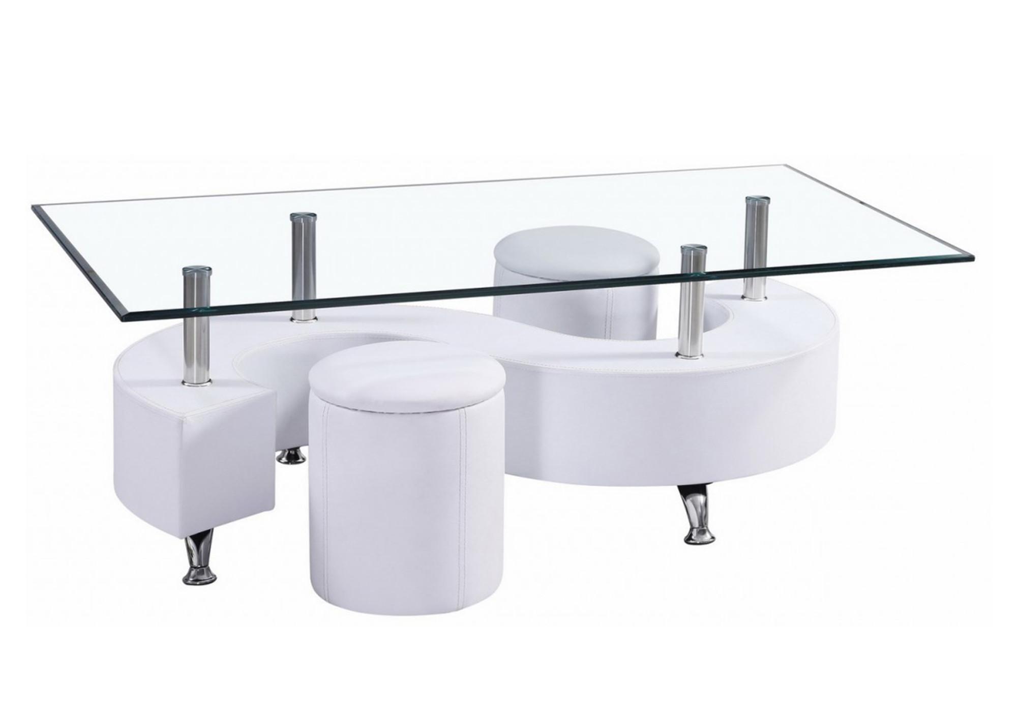 Table basse 2 poufs blanc CLOÉ