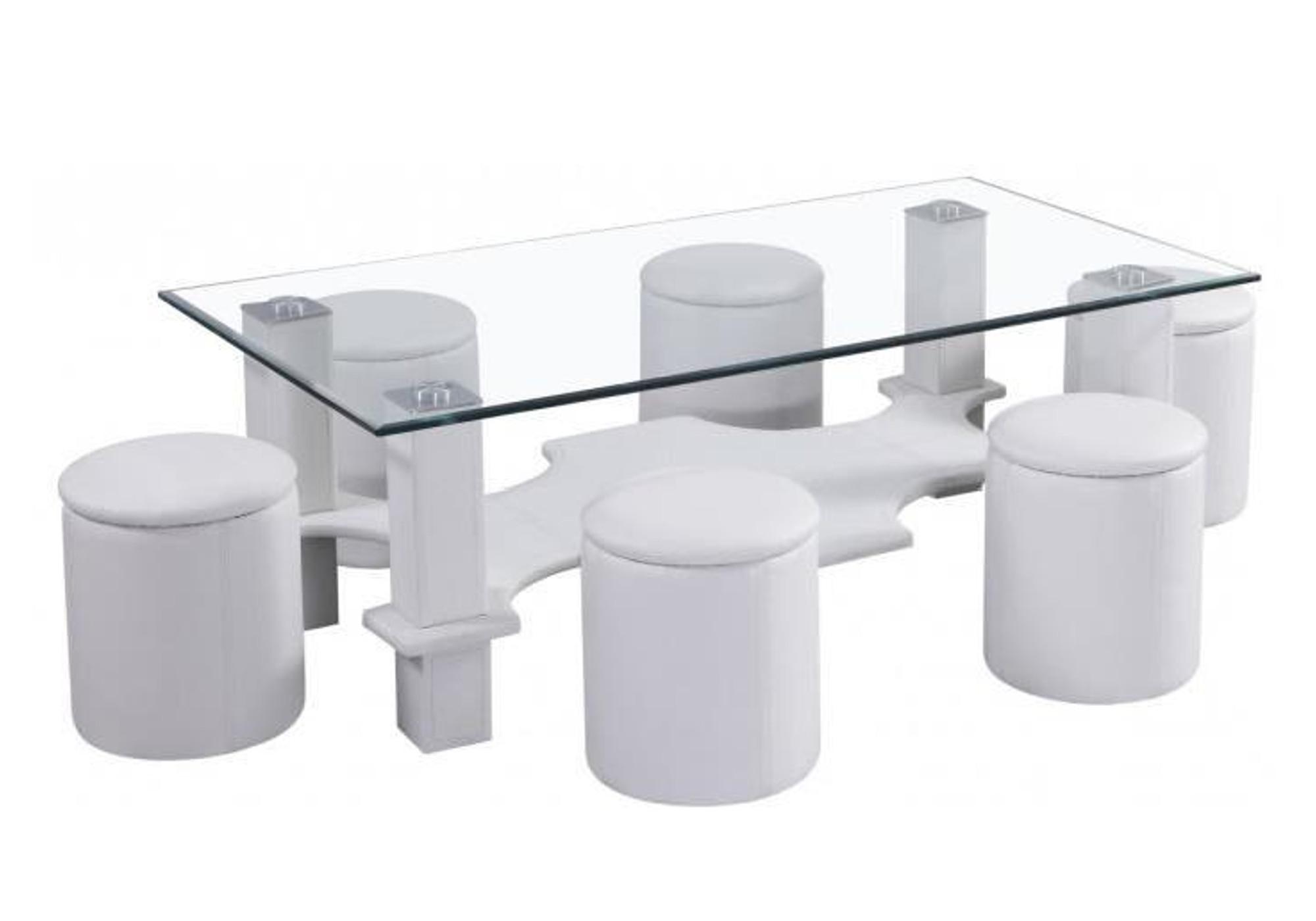 Table basse 6 poufs blanc CORA