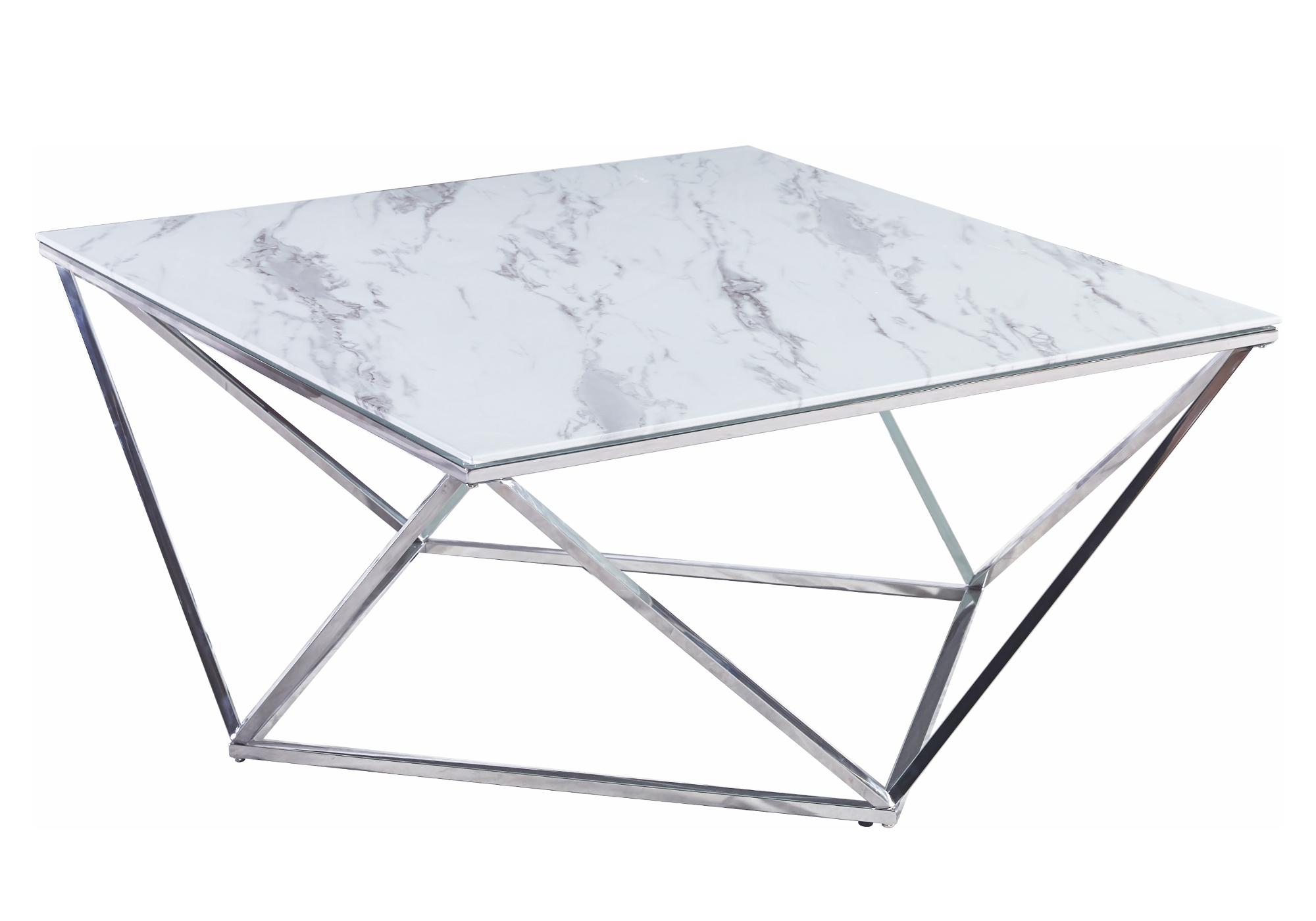 Table basse carré chrome marbre blanc ILÉA
