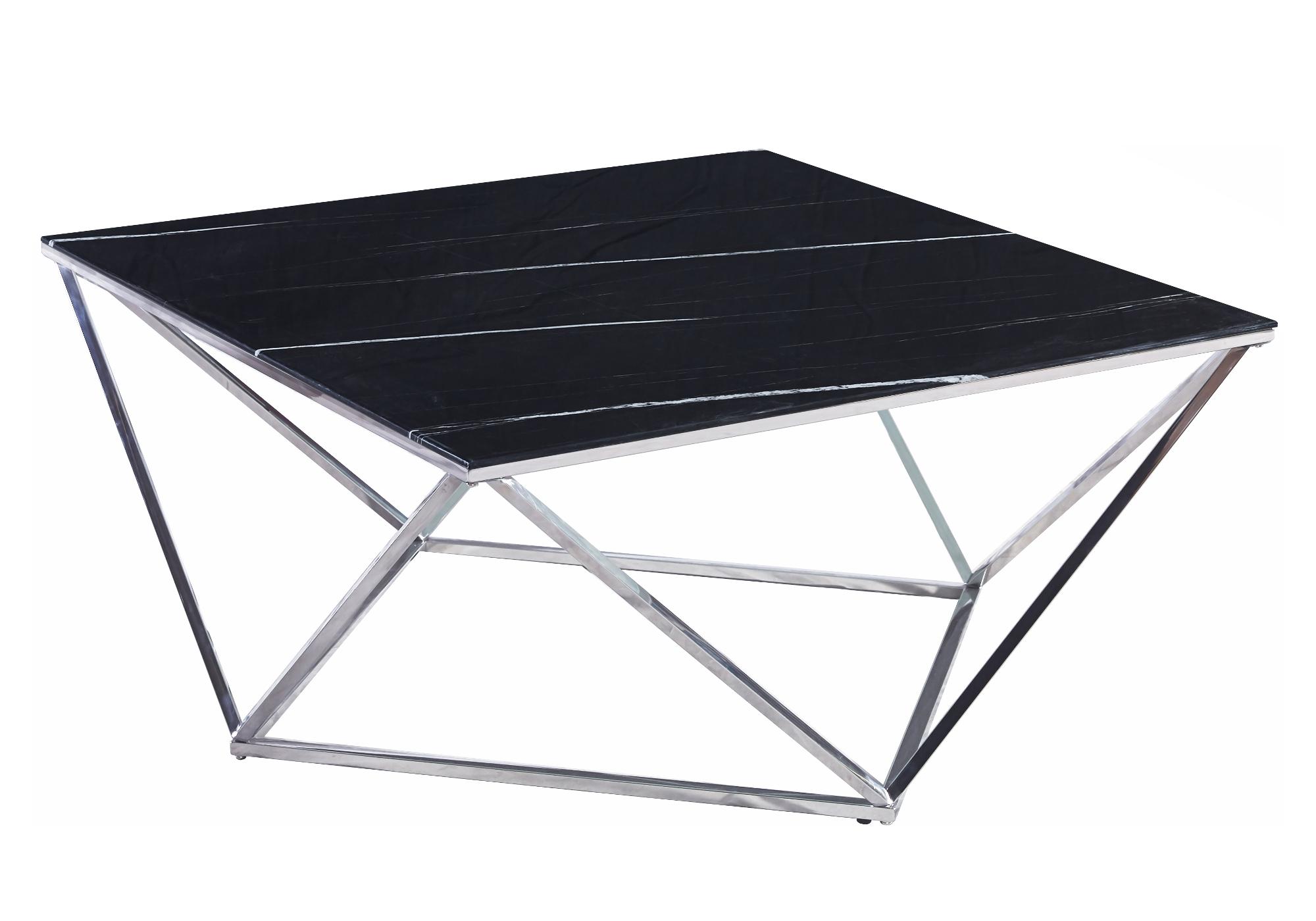 Table basse carré chrome marbre noir ILÉA