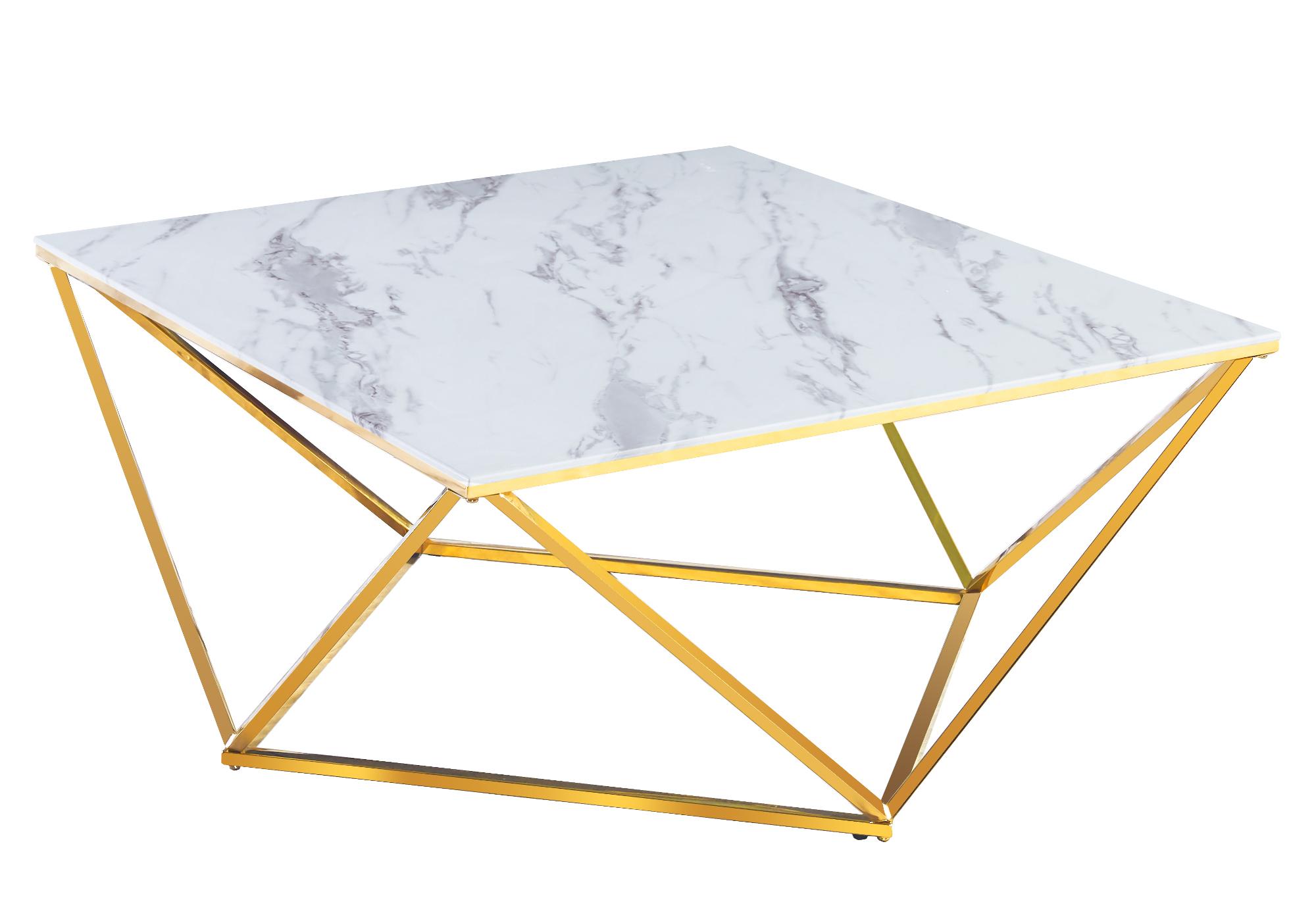 Table basse carré doré marbre blanc ILÉA