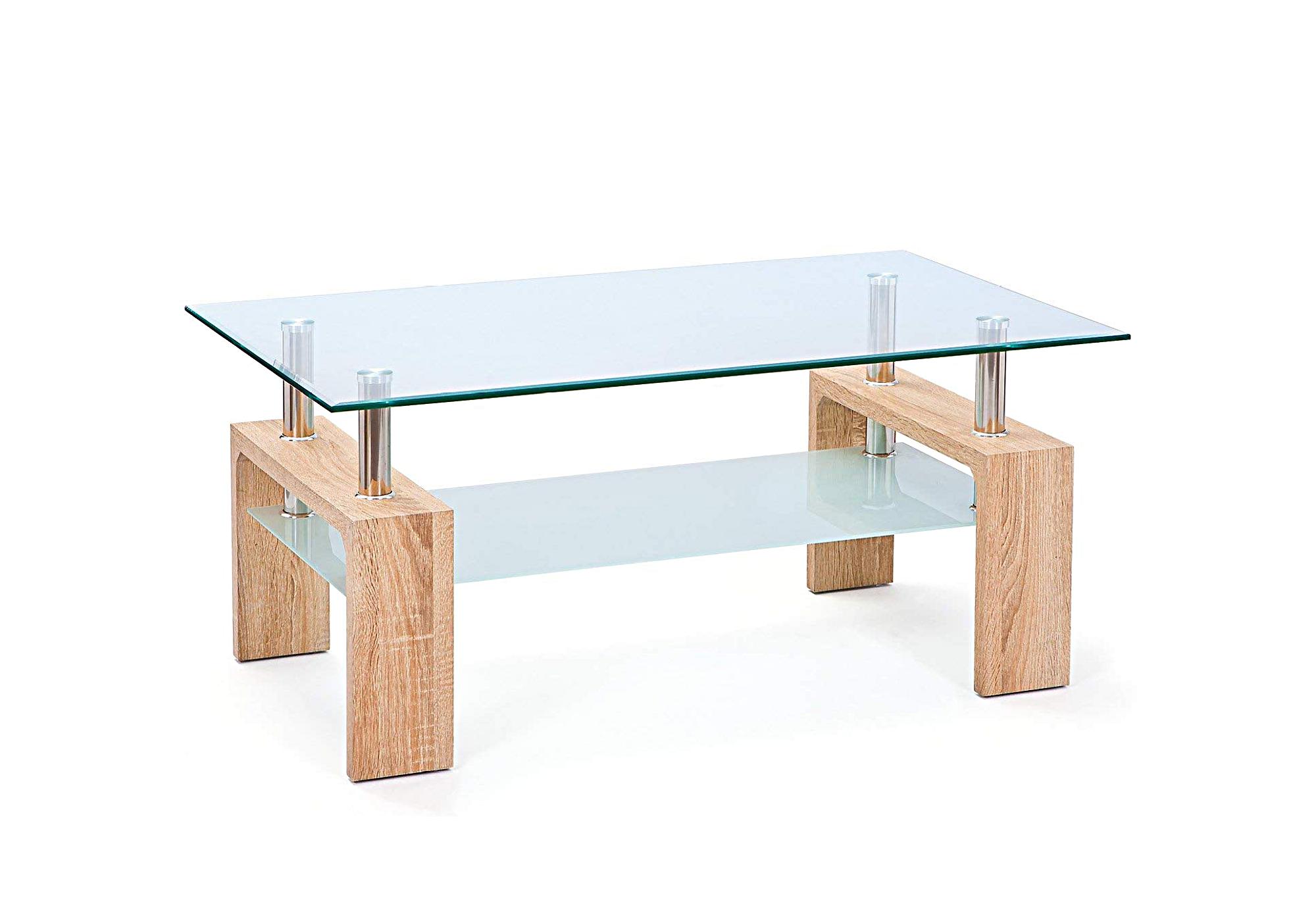 Table basse chêne verre trempé TOE