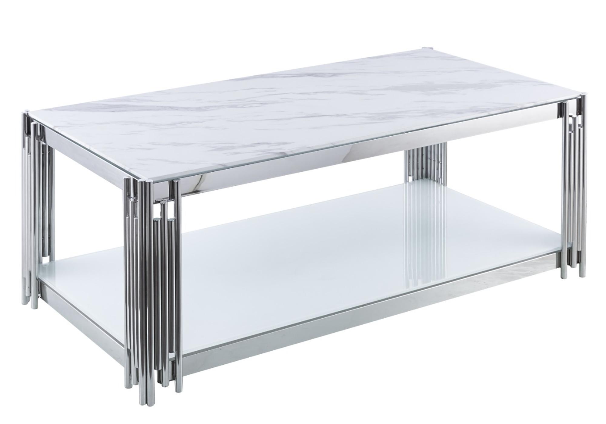 Table basse chromé marbre blanc ÈVE