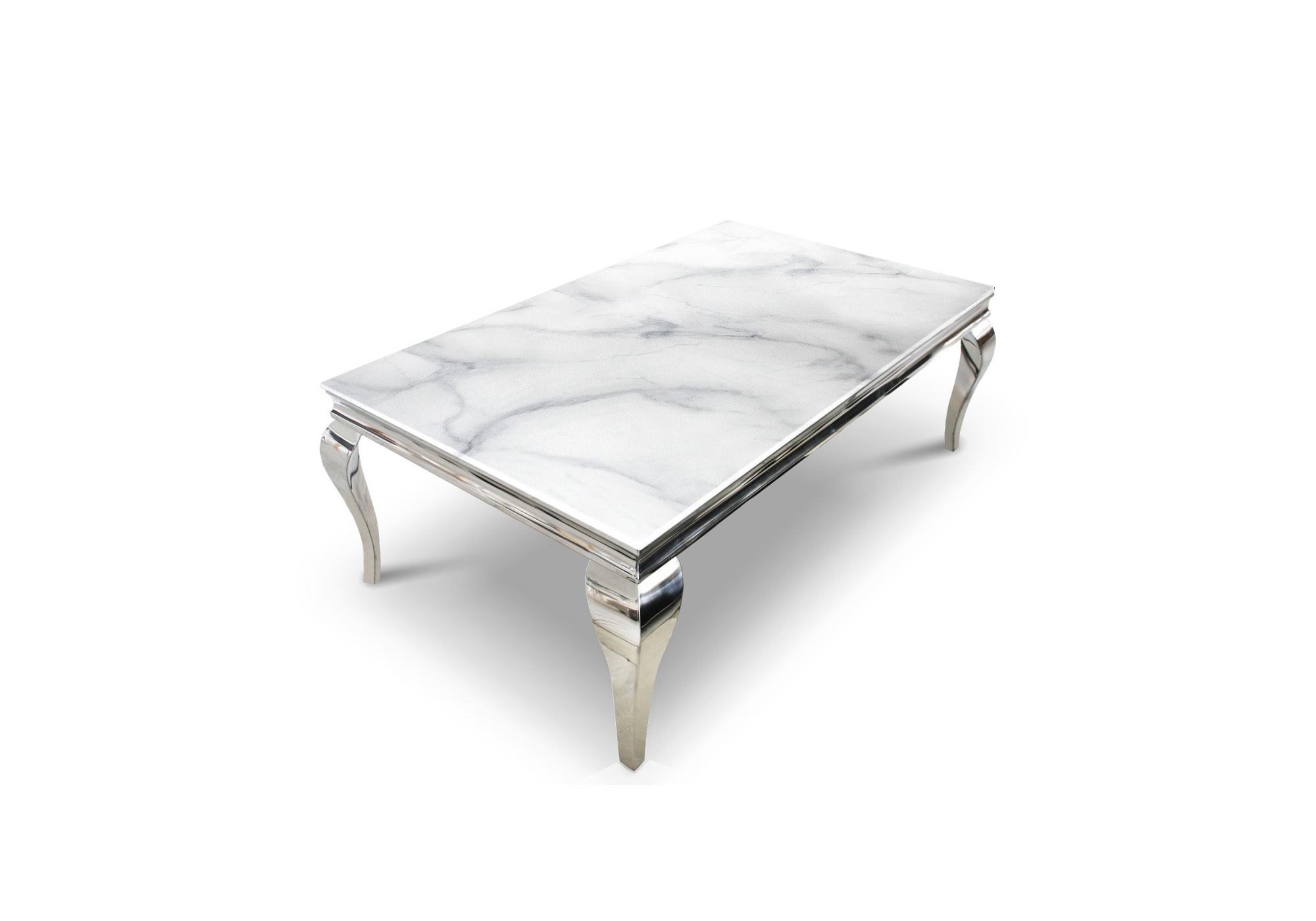 Table basse chromé marbre blanc NEO