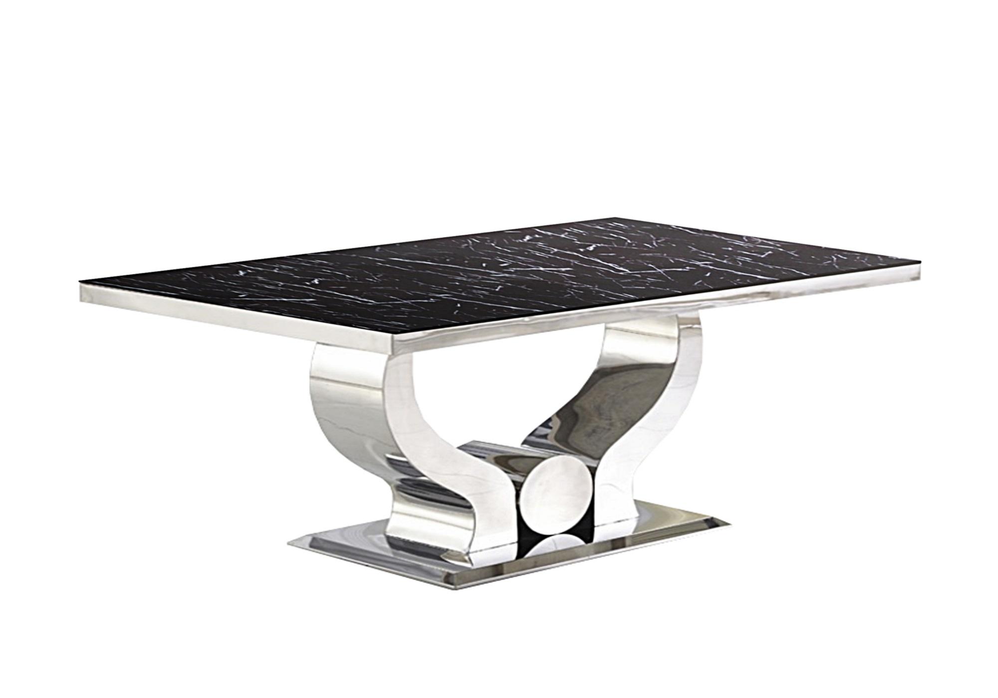 Table basse chromé marbre noir NEA