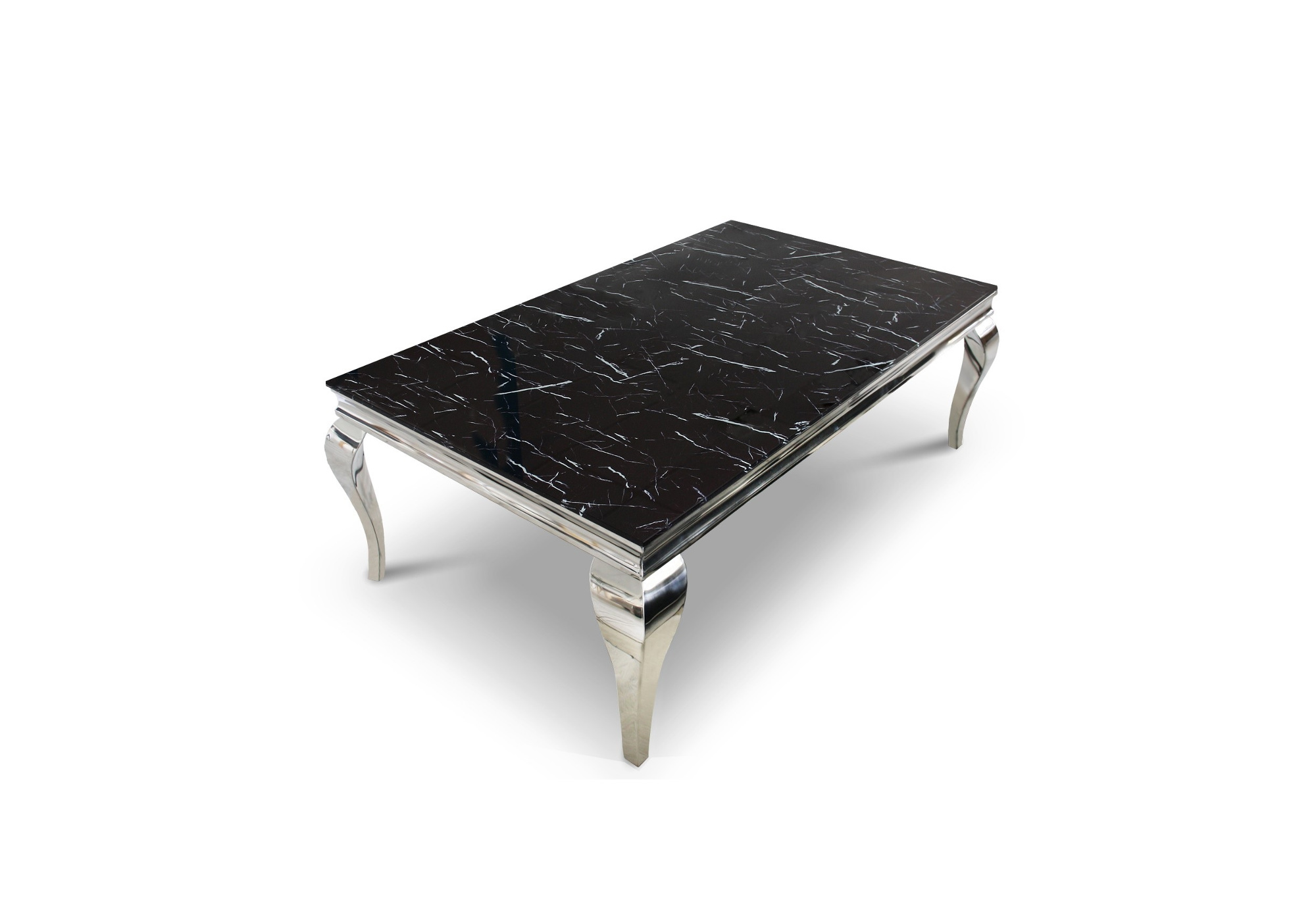 Table basse chromé marbre noir NEO
