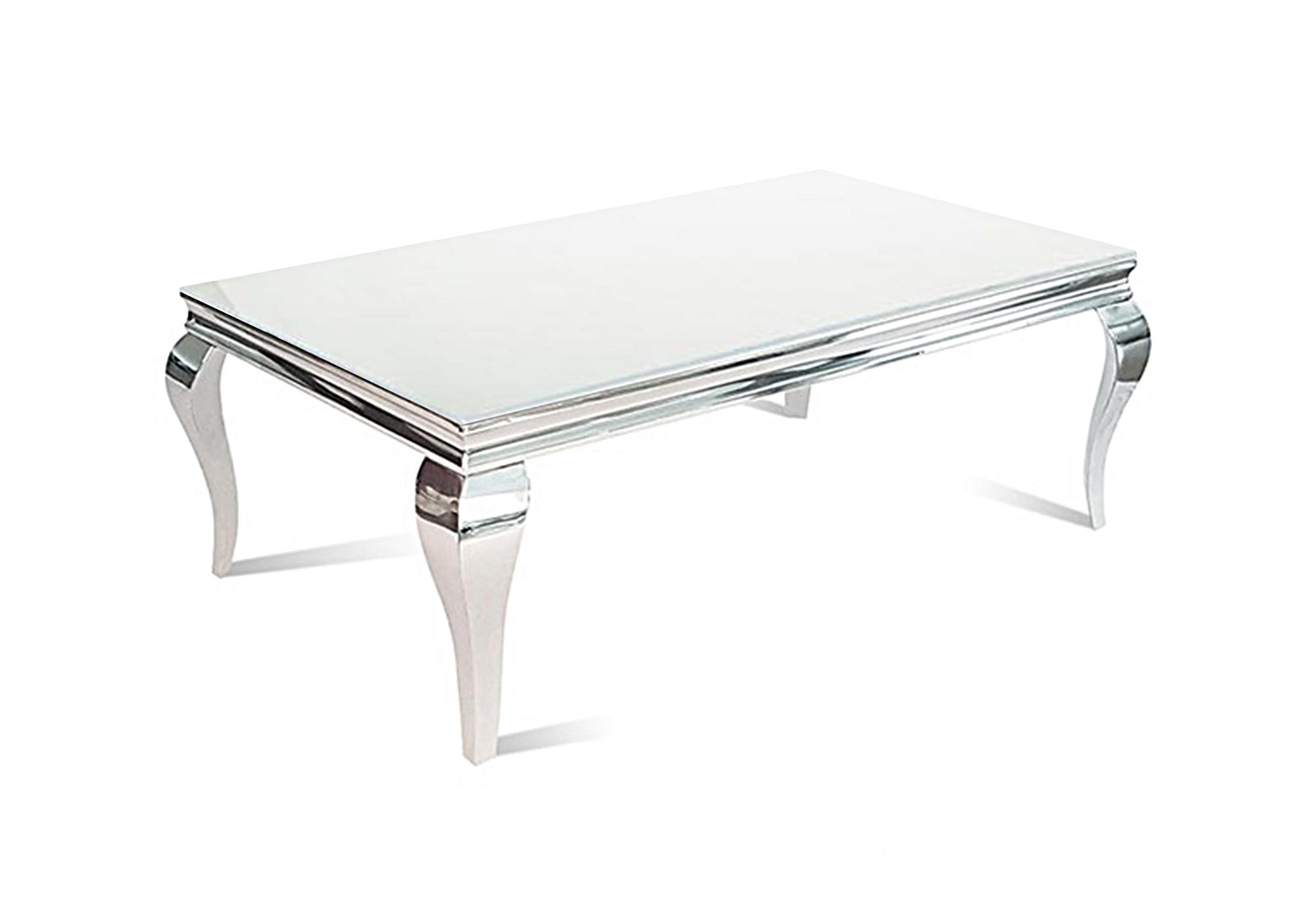 Table basse chromé verre blanc NEO