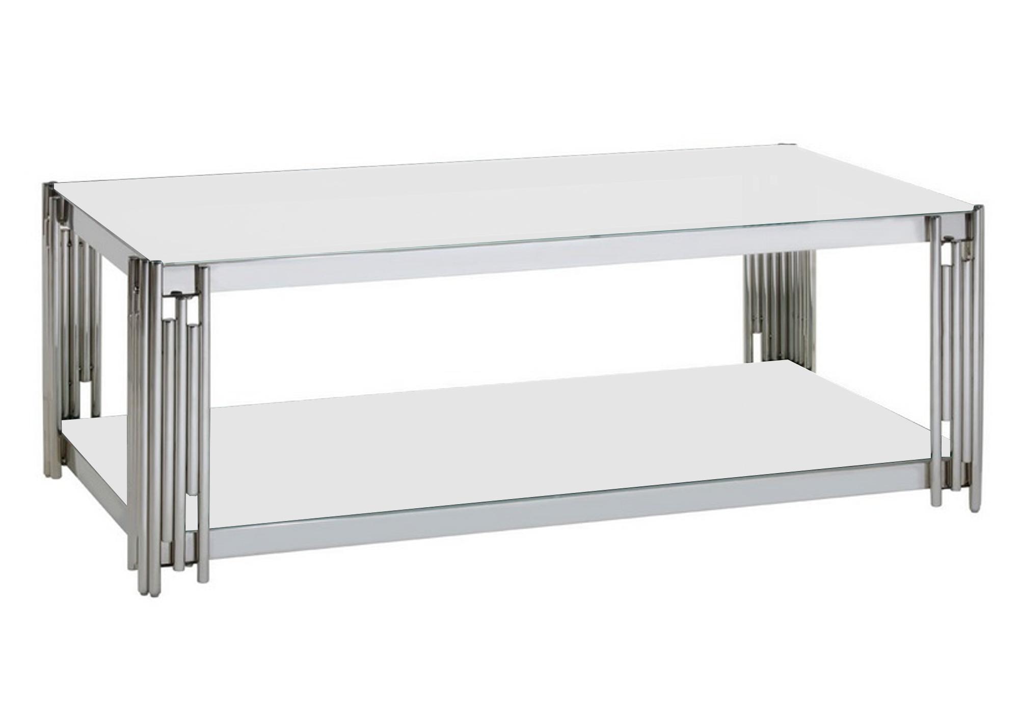 Table basse design chromé blanc ÈVE