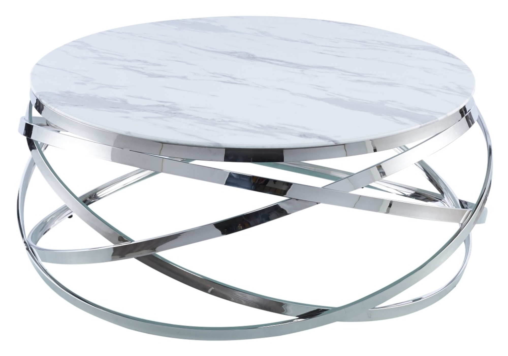 Table basse chromé marbre blanc EVO