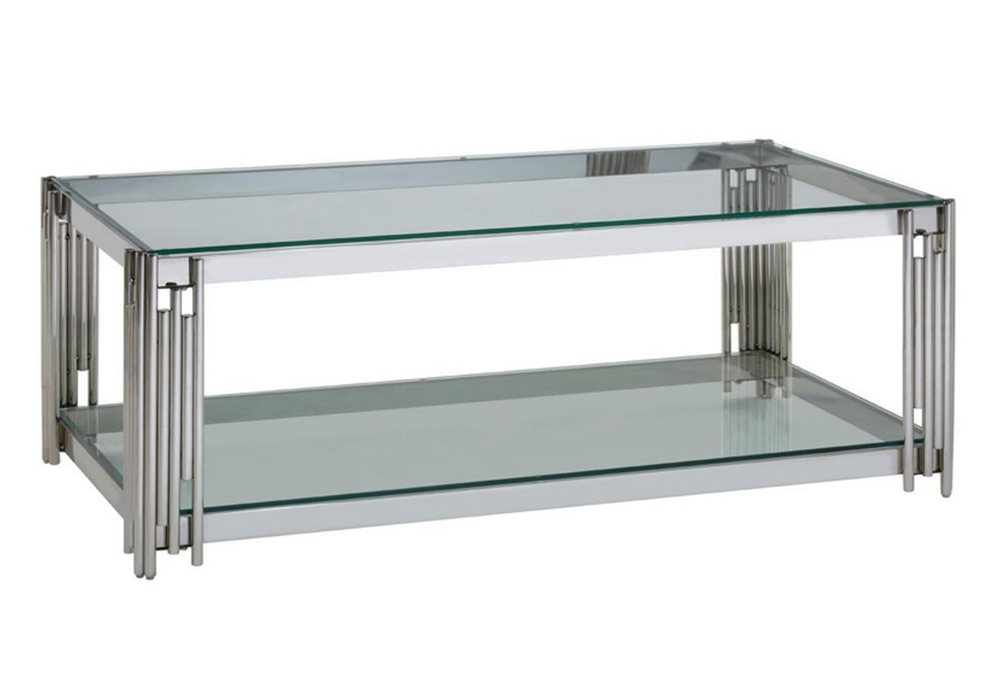 Table basse design chromé verre ÈVE