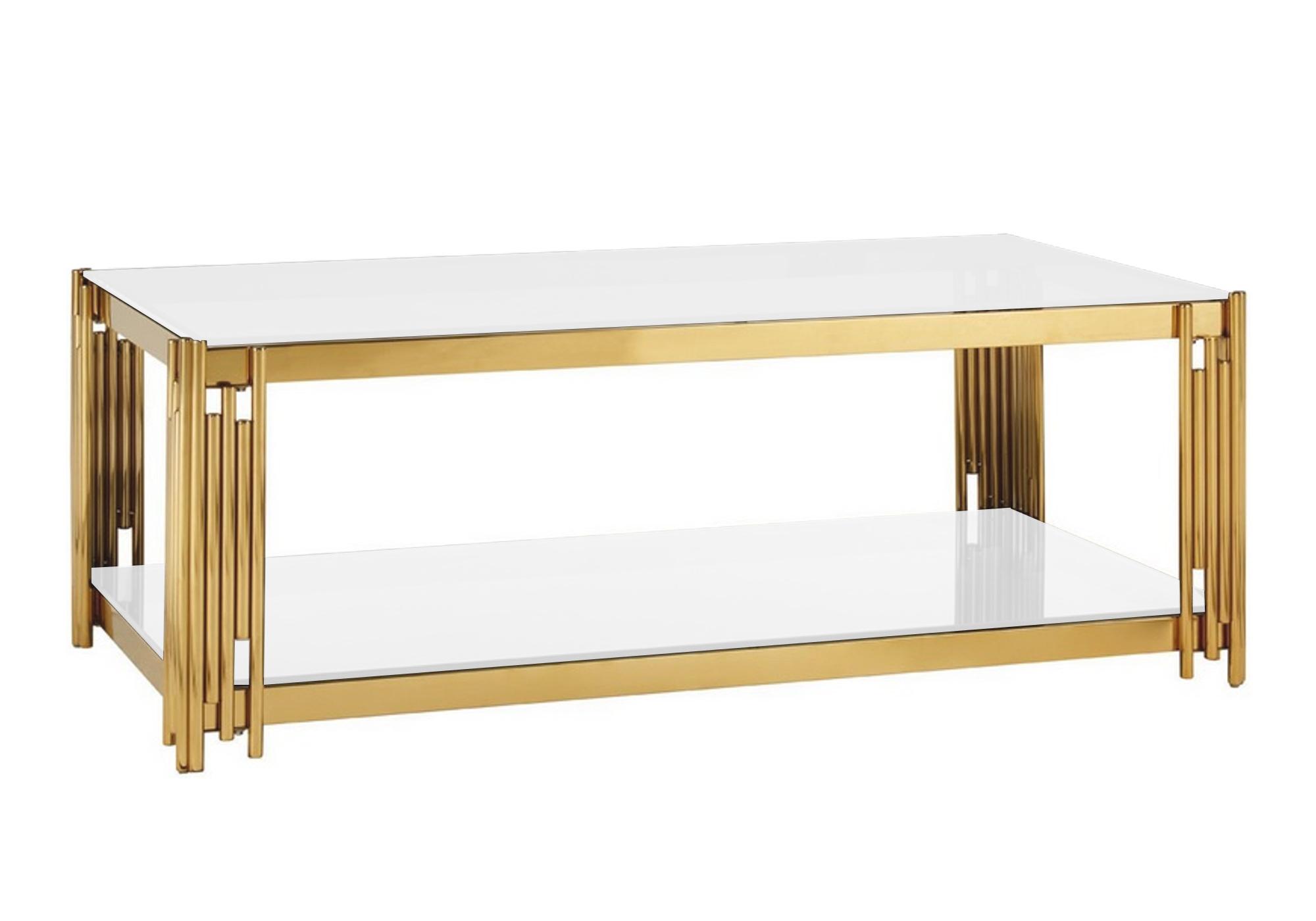 Table basse design doré blanc ÈVE