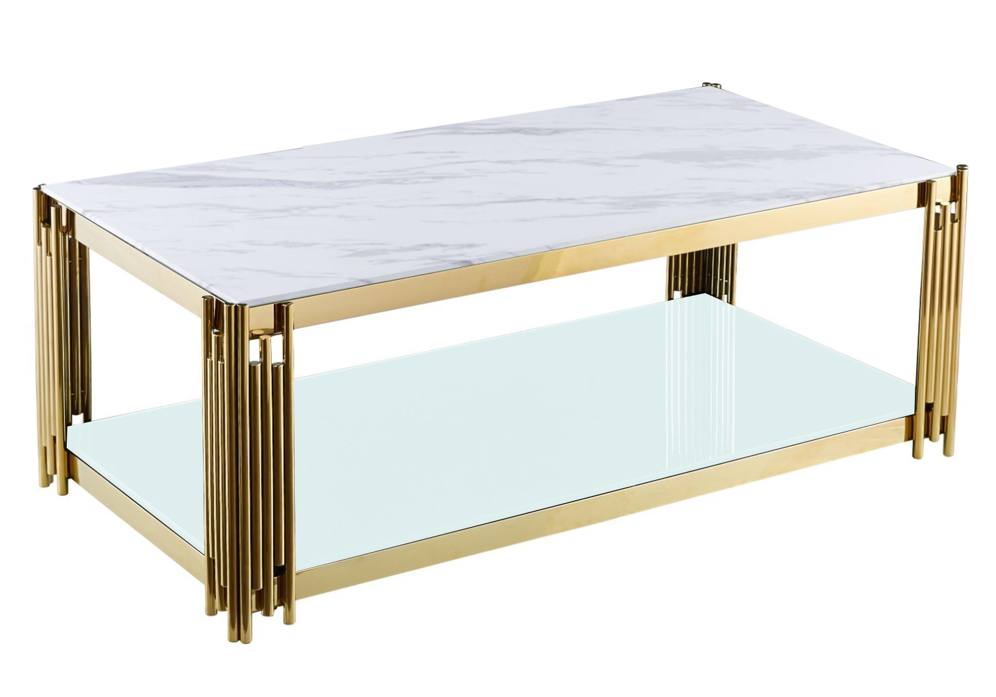 Table basse doré marbre blanc ÈVE