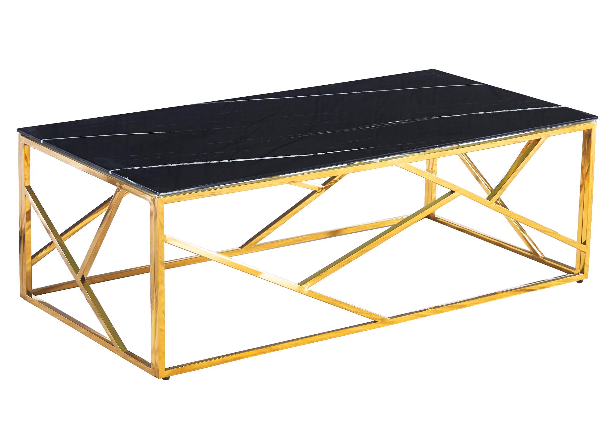 Table basse dorée marbre noir ILÉA
