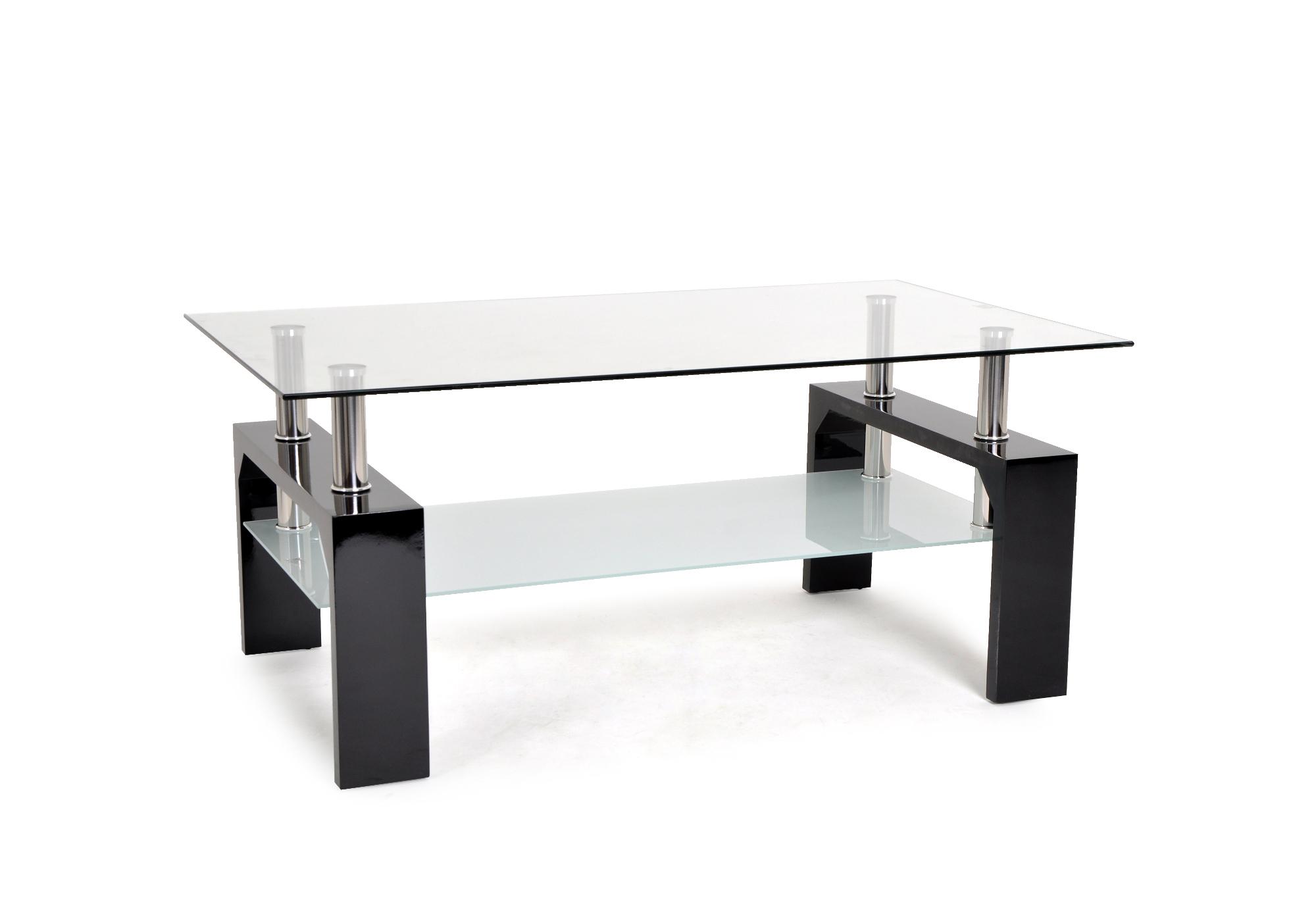 Table basse laqué noir verre TOE