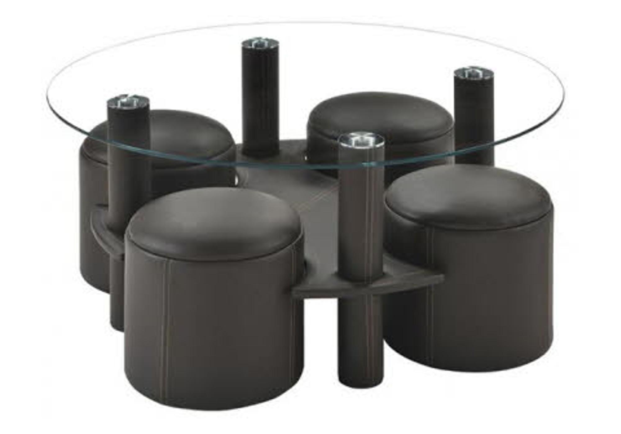 Table basse ronde 4 poufs noirs CLOÉ