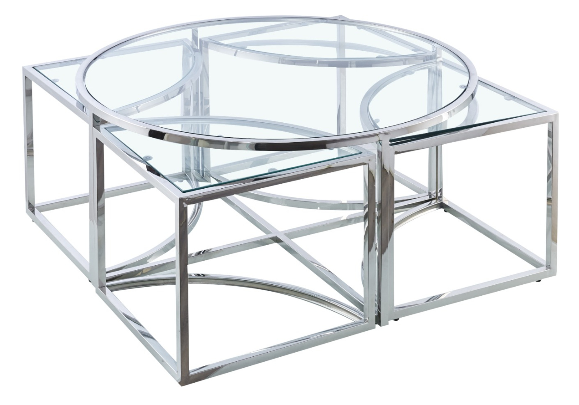 Table basse ronde design chromé verre PIO
