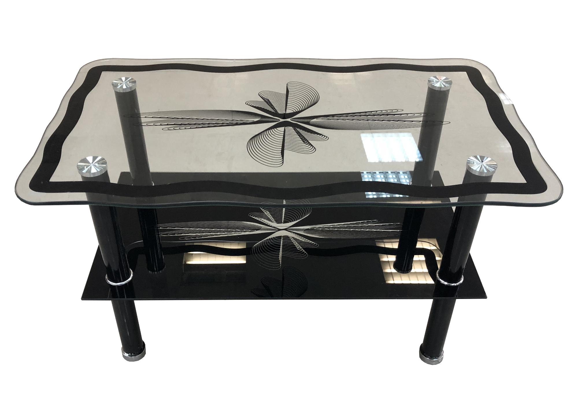 Table basse verre trempé noir HANA