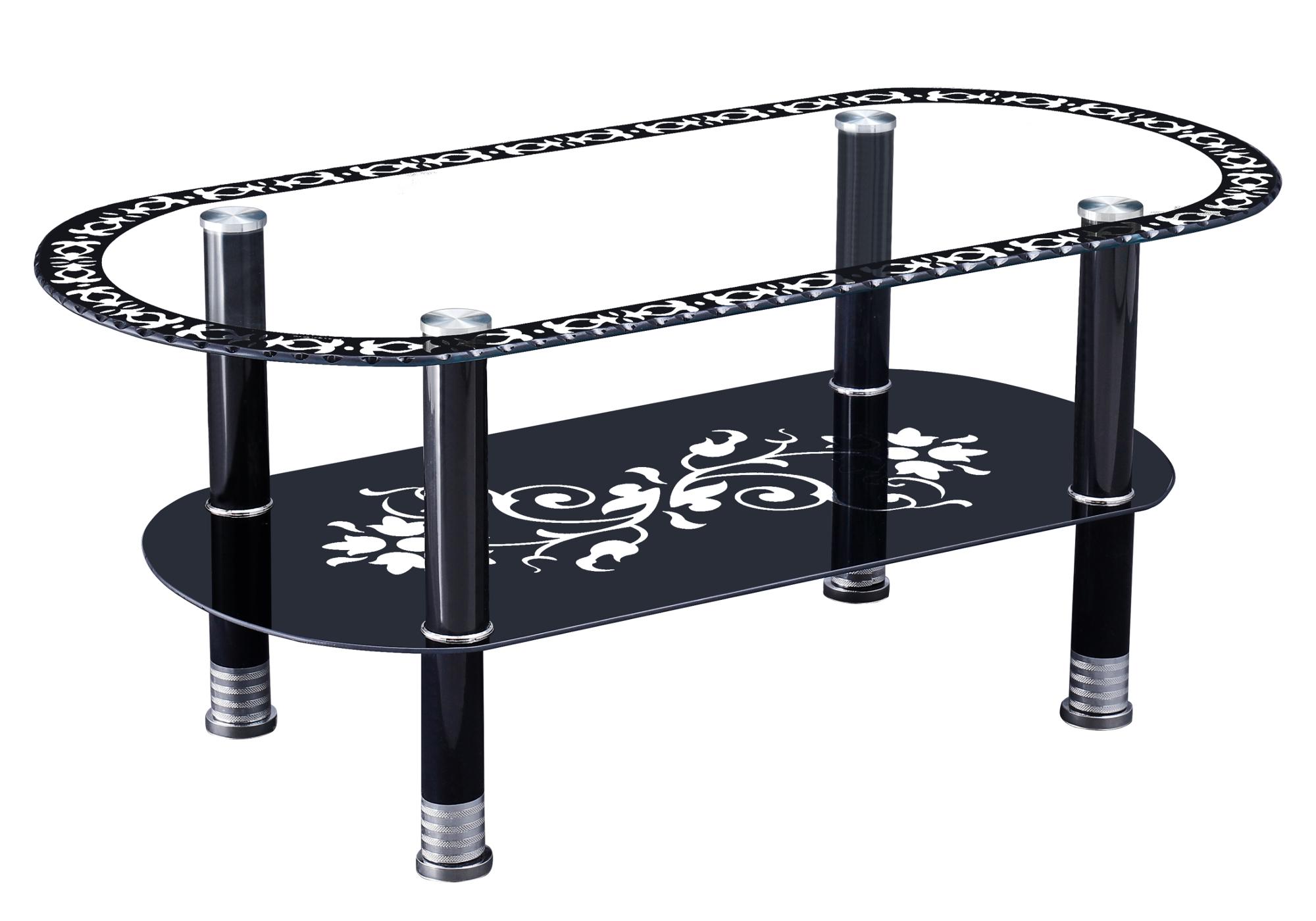 Table basse verre trempé noir HAVA