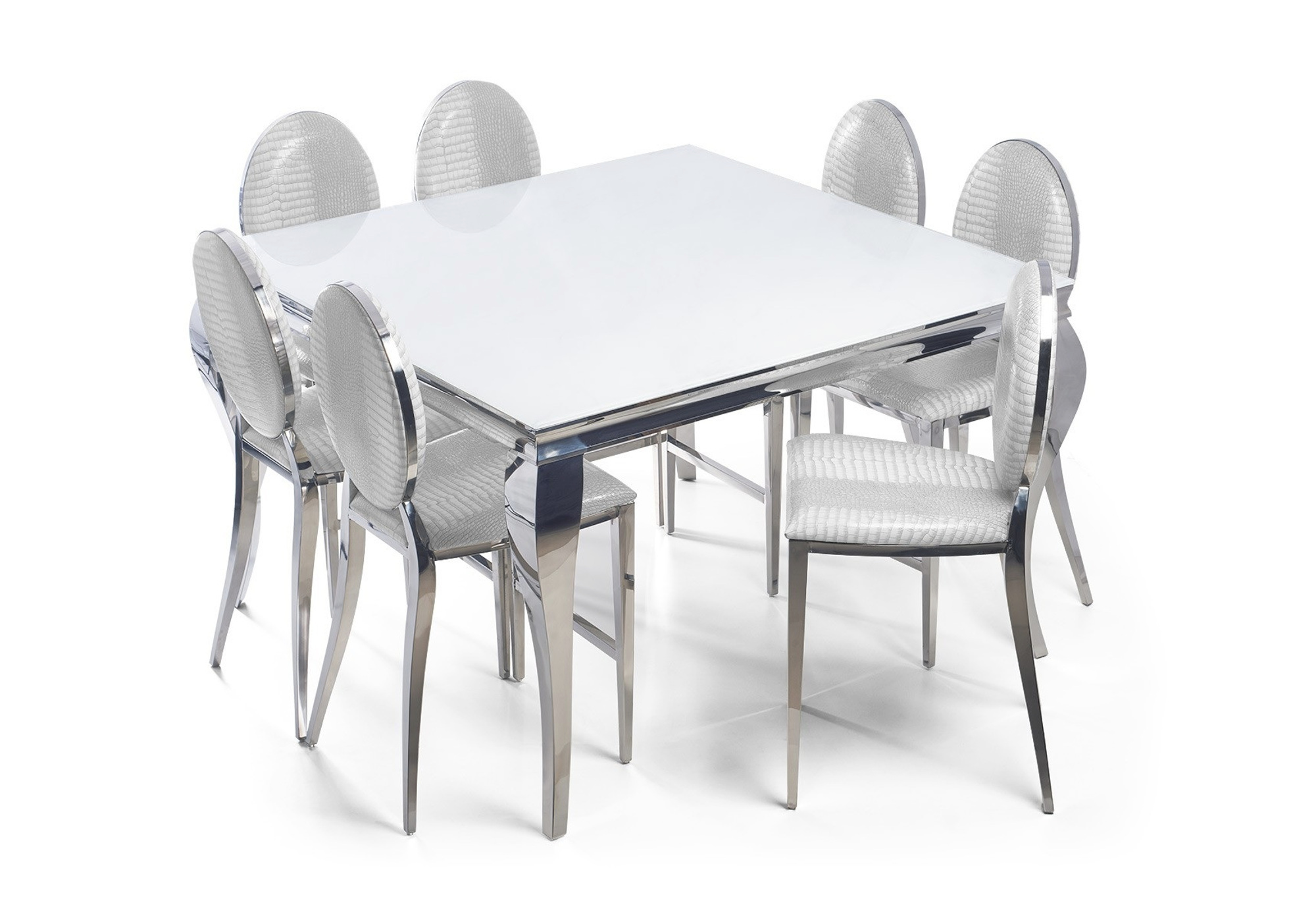 Table carré 4 chaises chromé blanc NEO