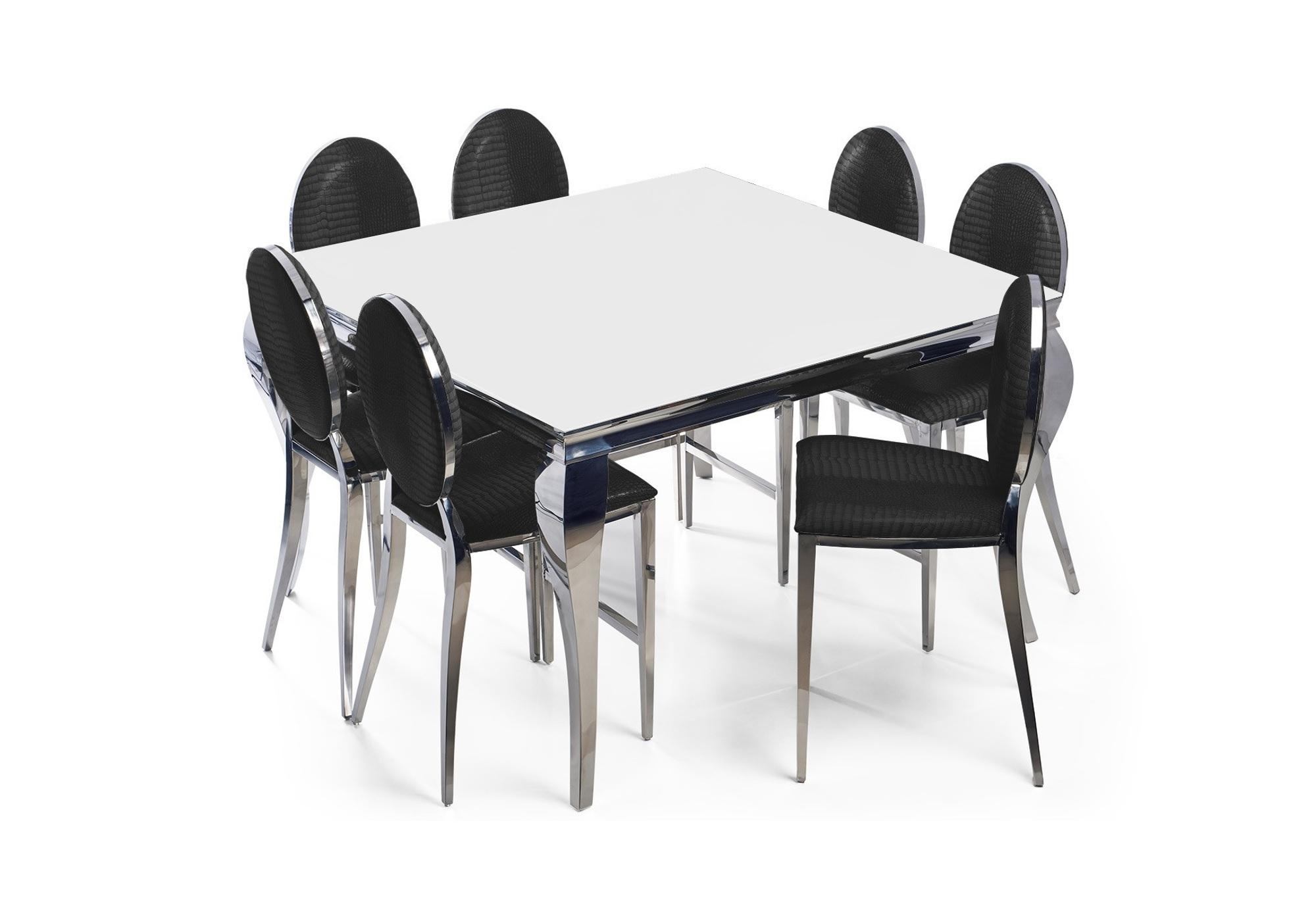 Table carré chromé blanc 4 chaises noir NEO