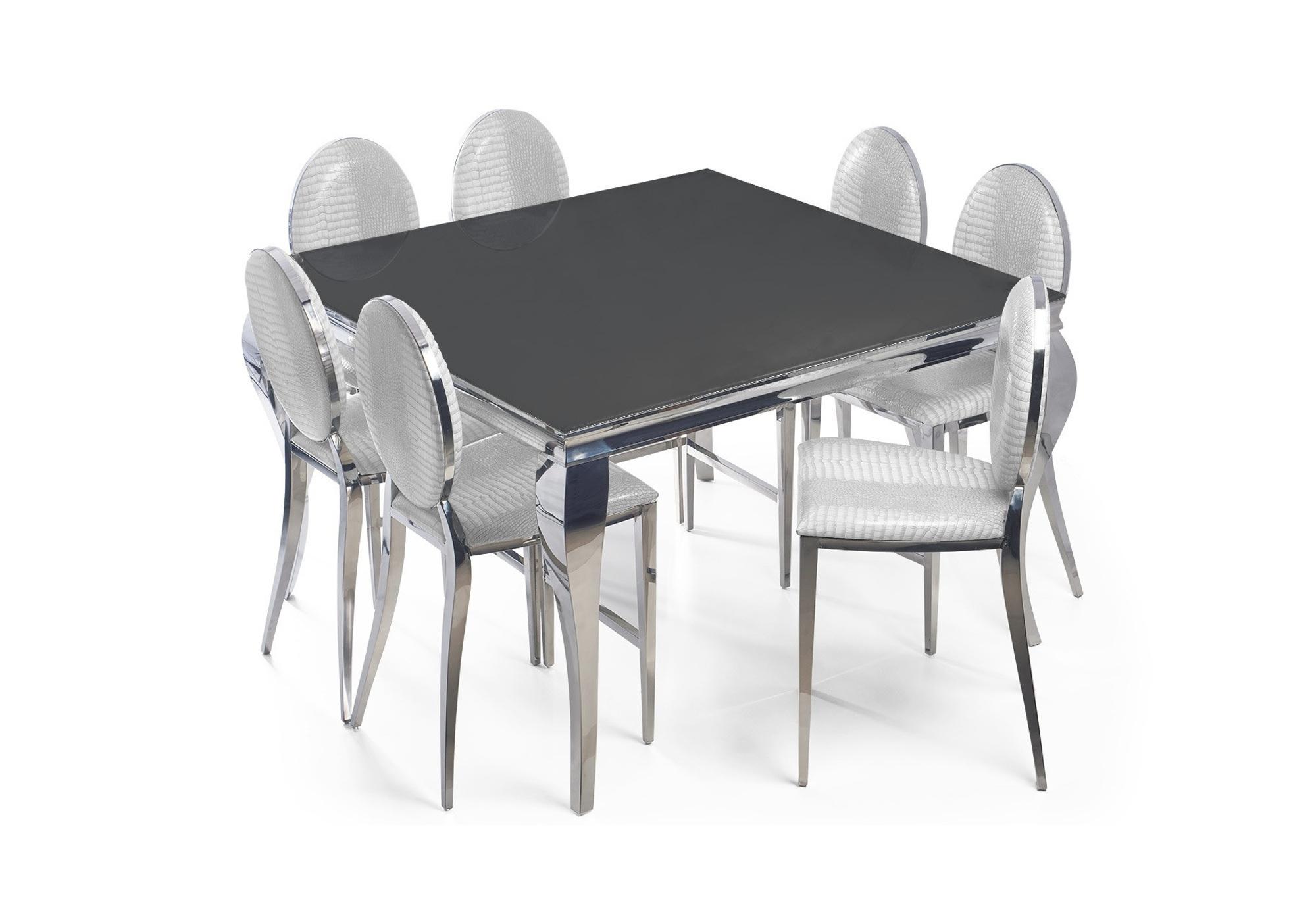 Table carré argenté noir 4 chaises blanc NEO