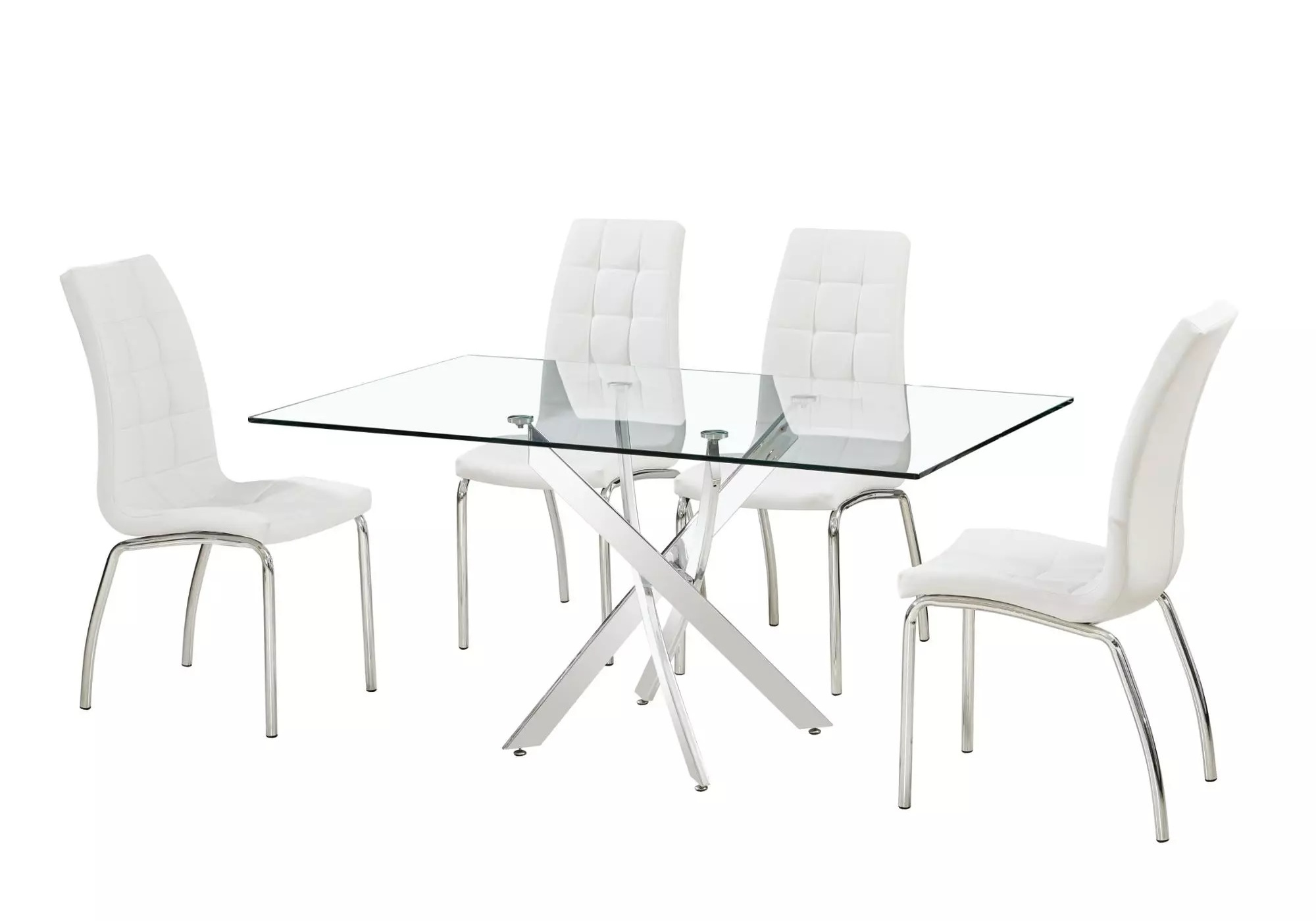Table repas 6 chaises blanches DESIGN