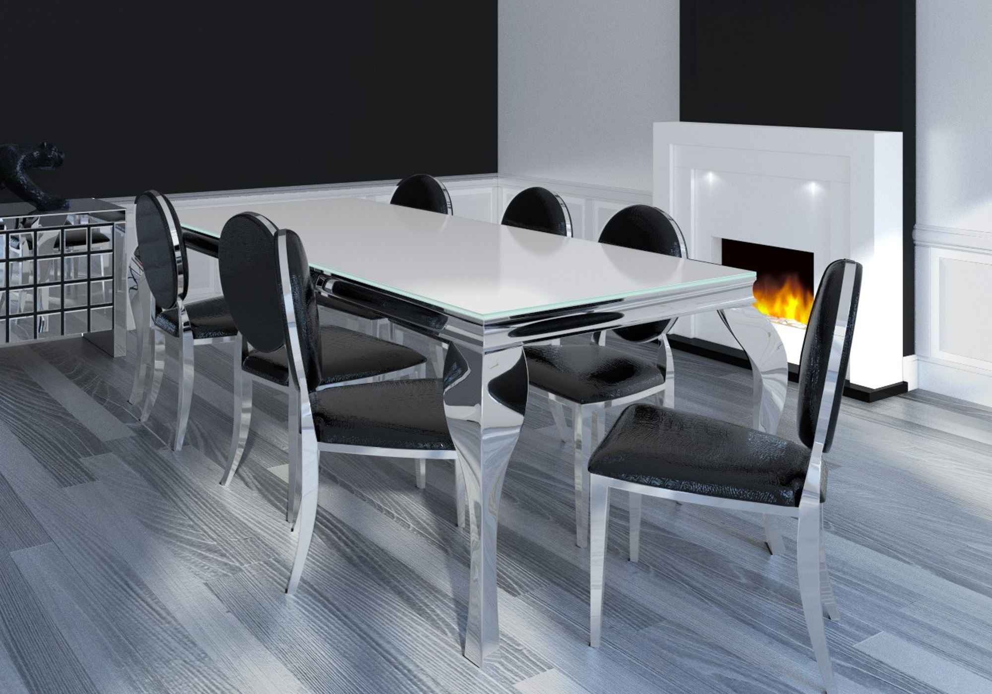 Table chromé blanc 4 chaises noir NEO