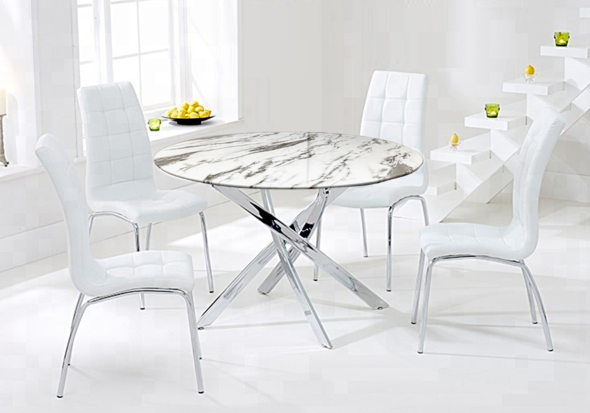 Table ronde 6 chaises marbre blanc DESIGN