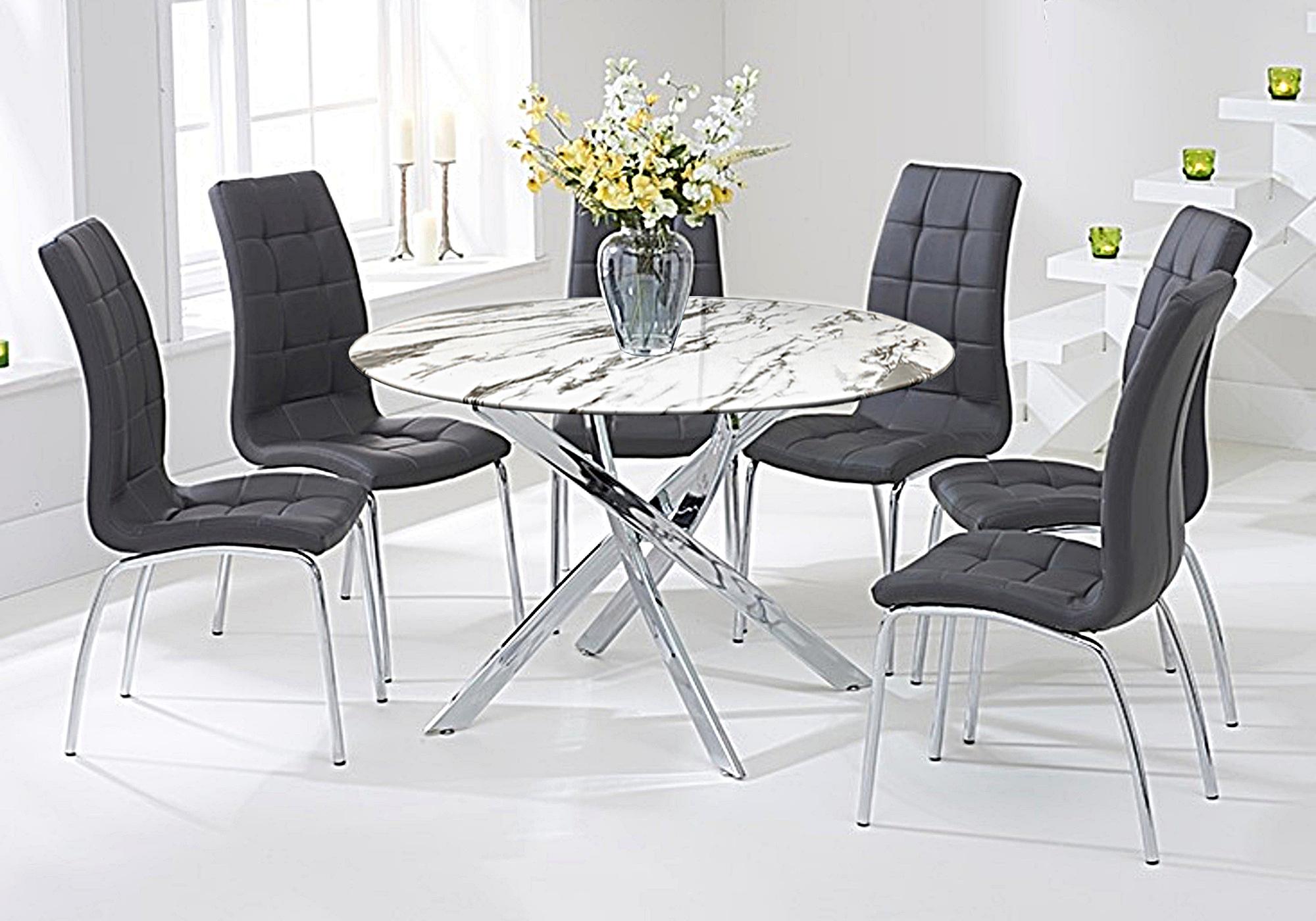 Table marbre blanc 6 chaises grises DESIGN
