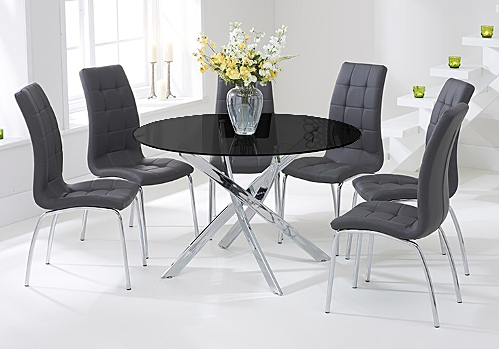Table chromé noir 6 chaises gris DESIGN