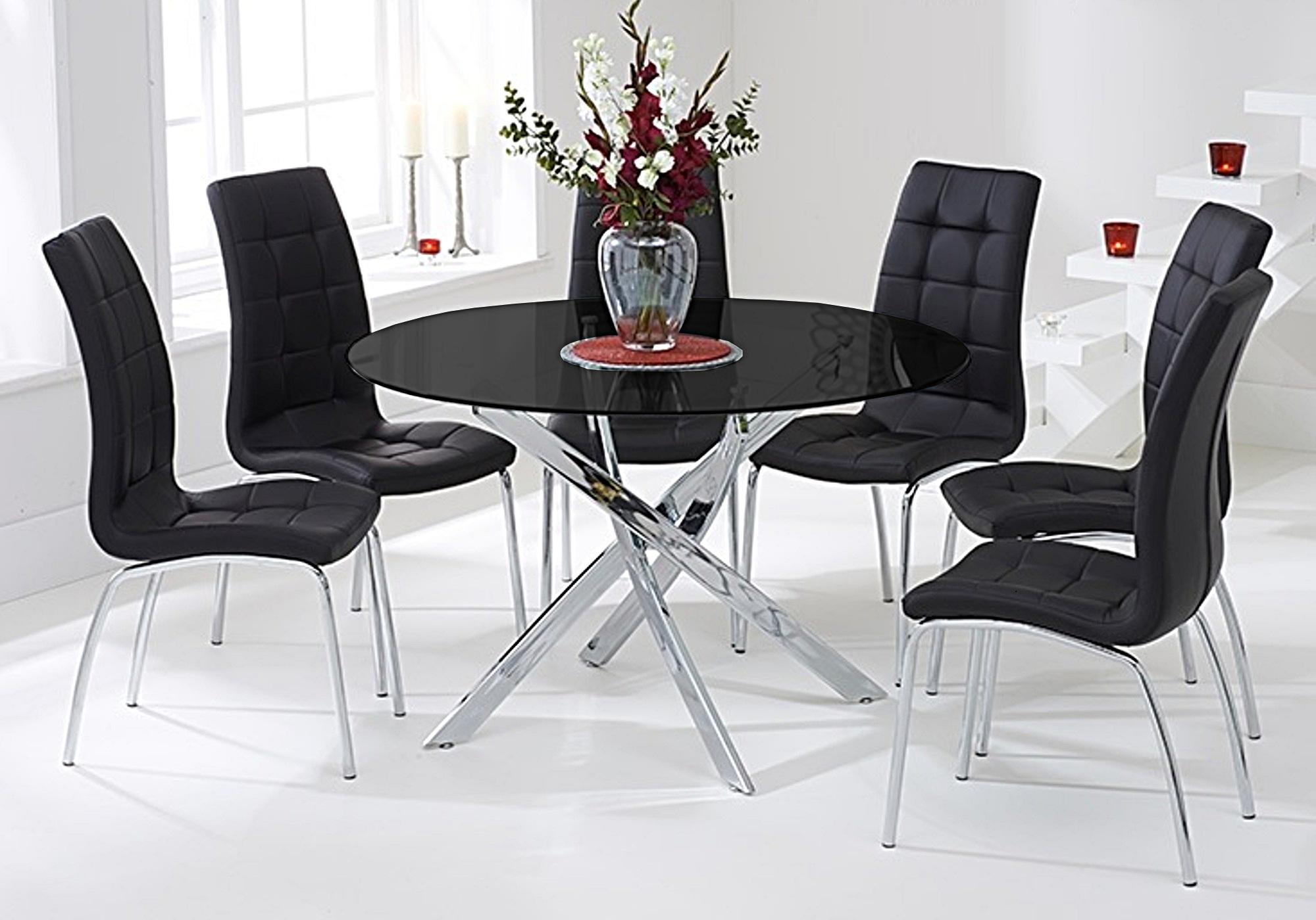 Table ronde chromé 6 chaises noires DESIGN