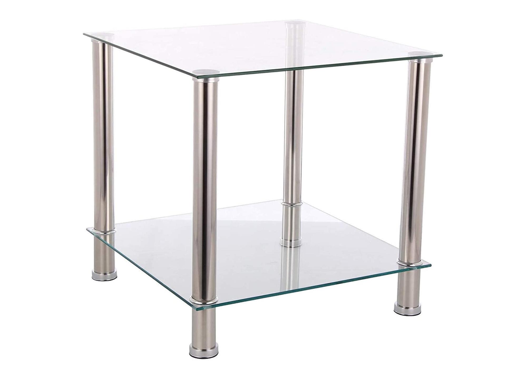 Table d\'appoint carré verre trempé HILO