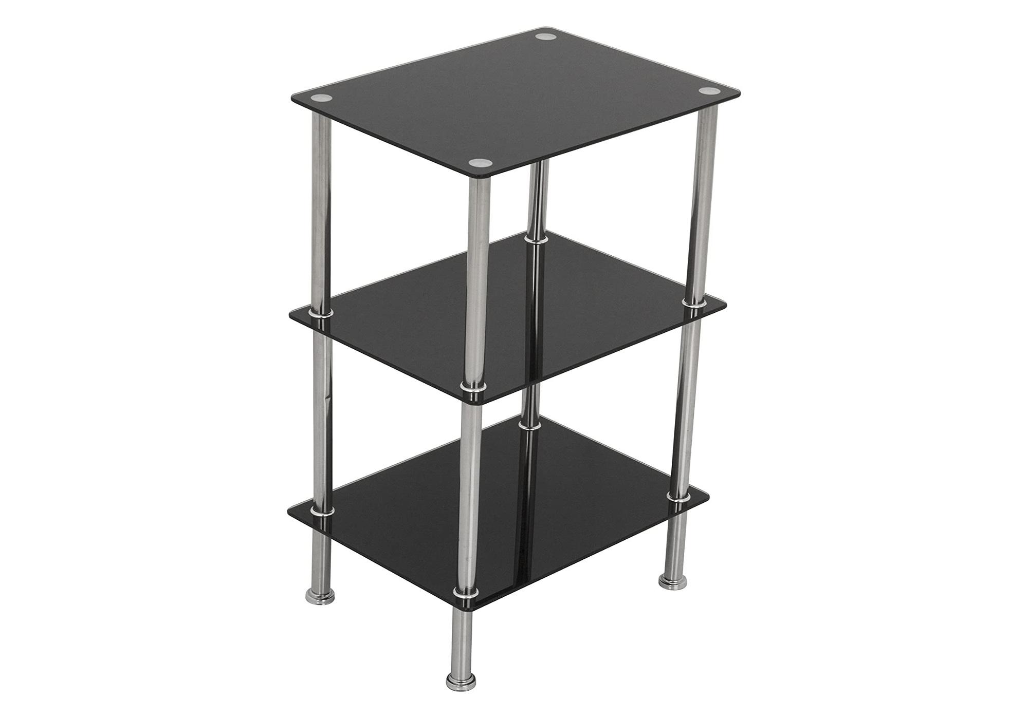 Table d\'appoint carré verre noir HILO I