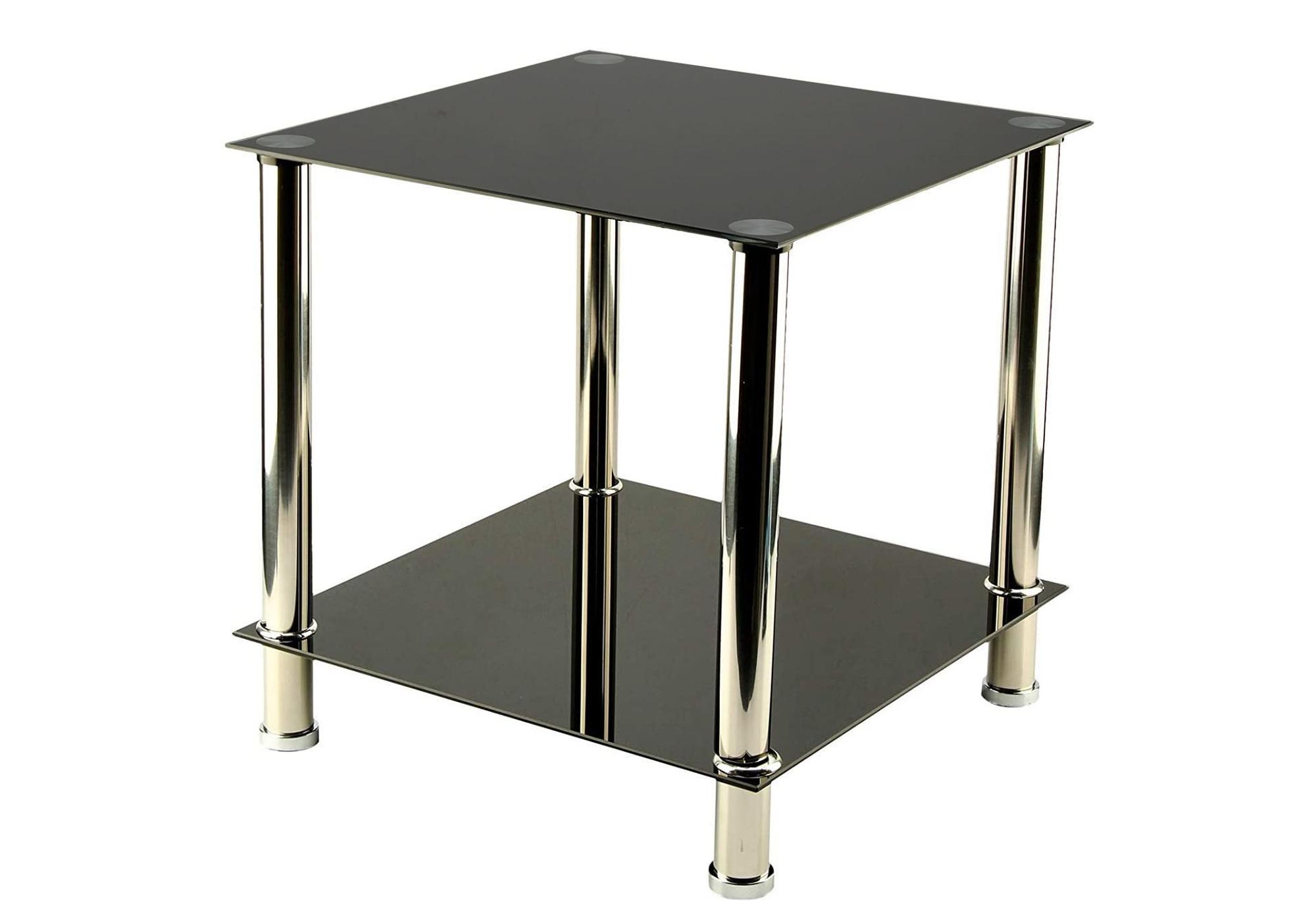 Table d\'appoint carré verre noir HILO