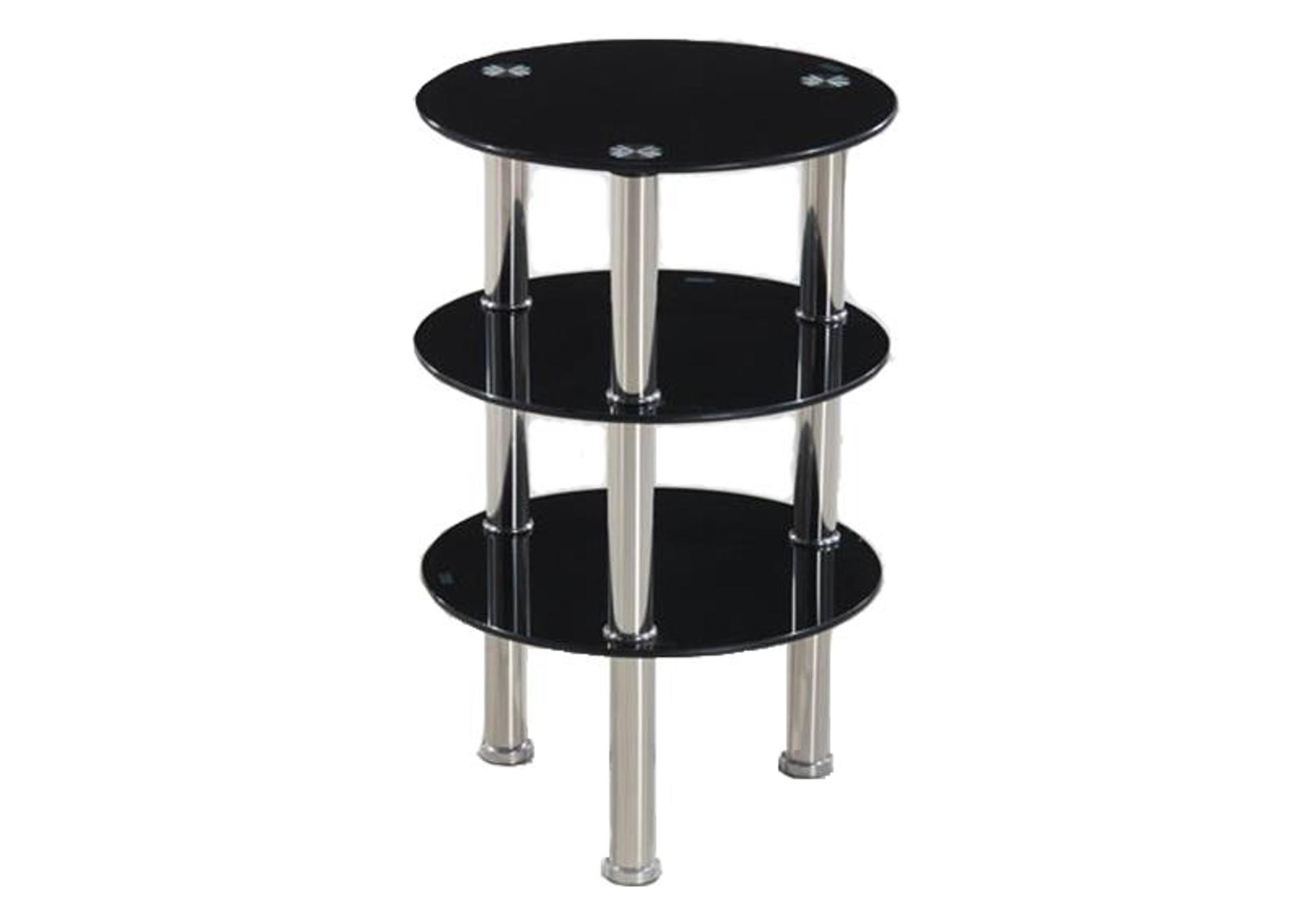 Table d'appoint chromé verre noir ZOA I